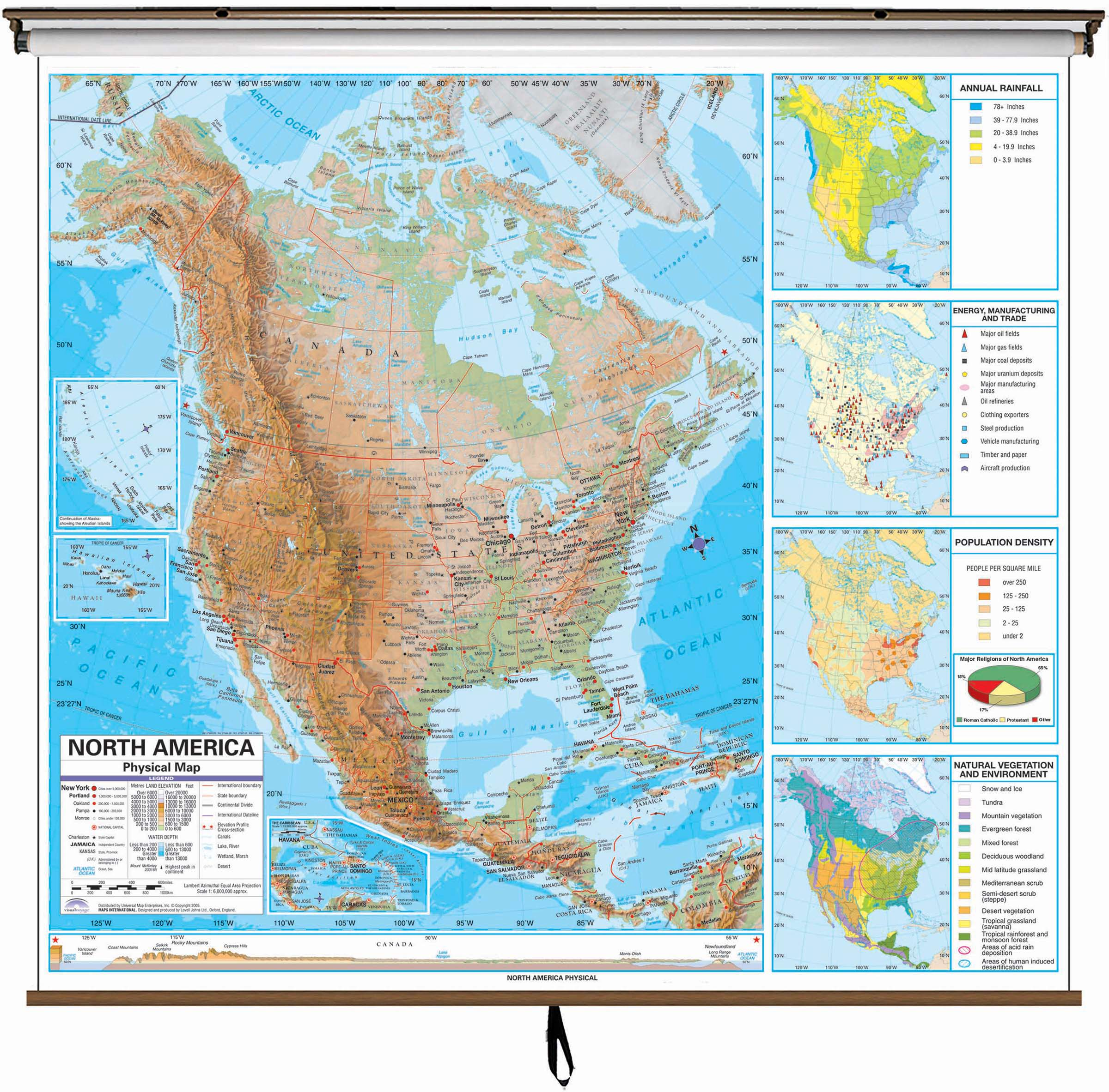 Population Density Map Of North America.North America Advanced Physical Classroom Wall Map On Roller W