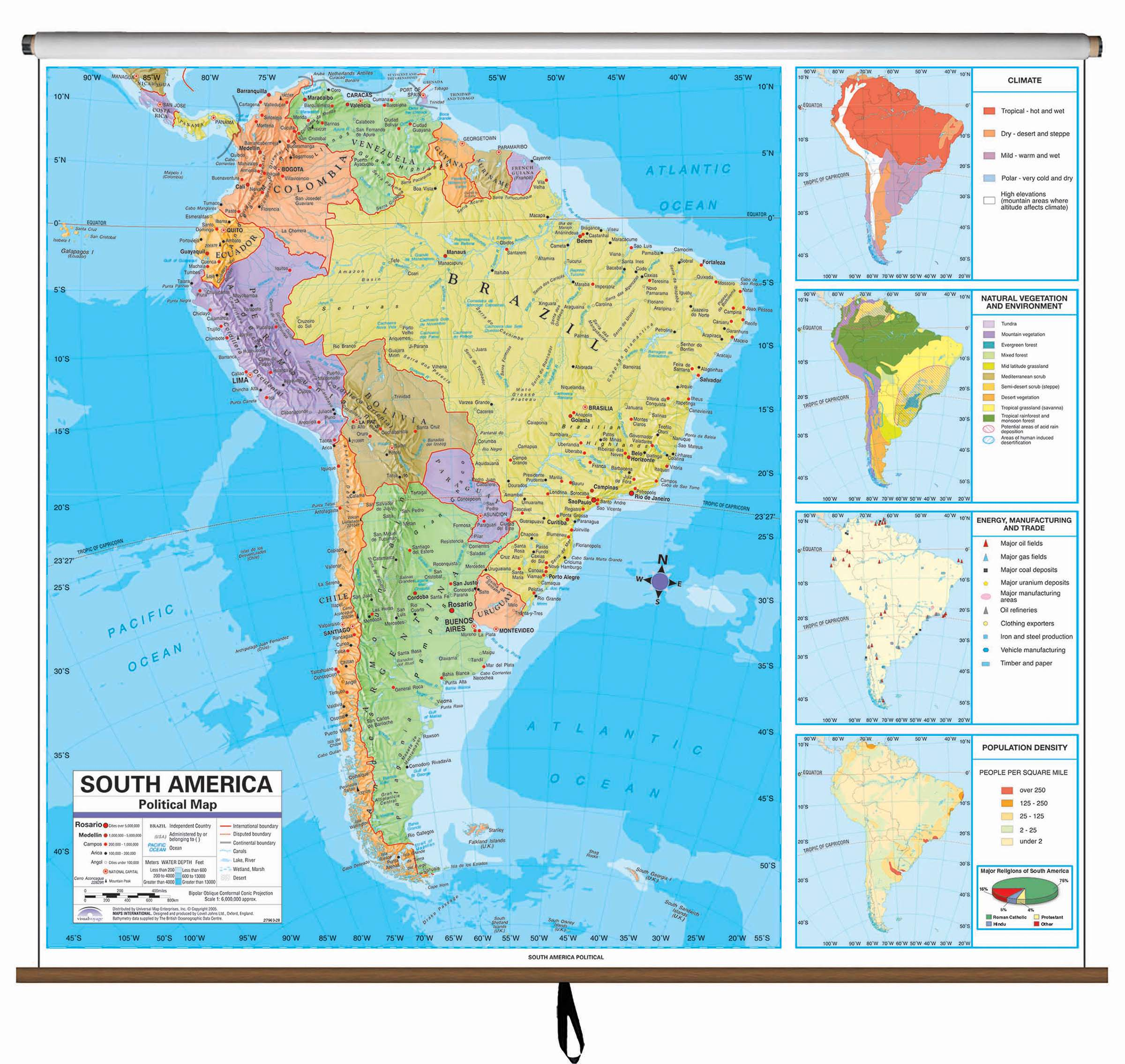 Map Of South America 2017.South America Advanced Political Classroom Wall Map Kappa Map Group