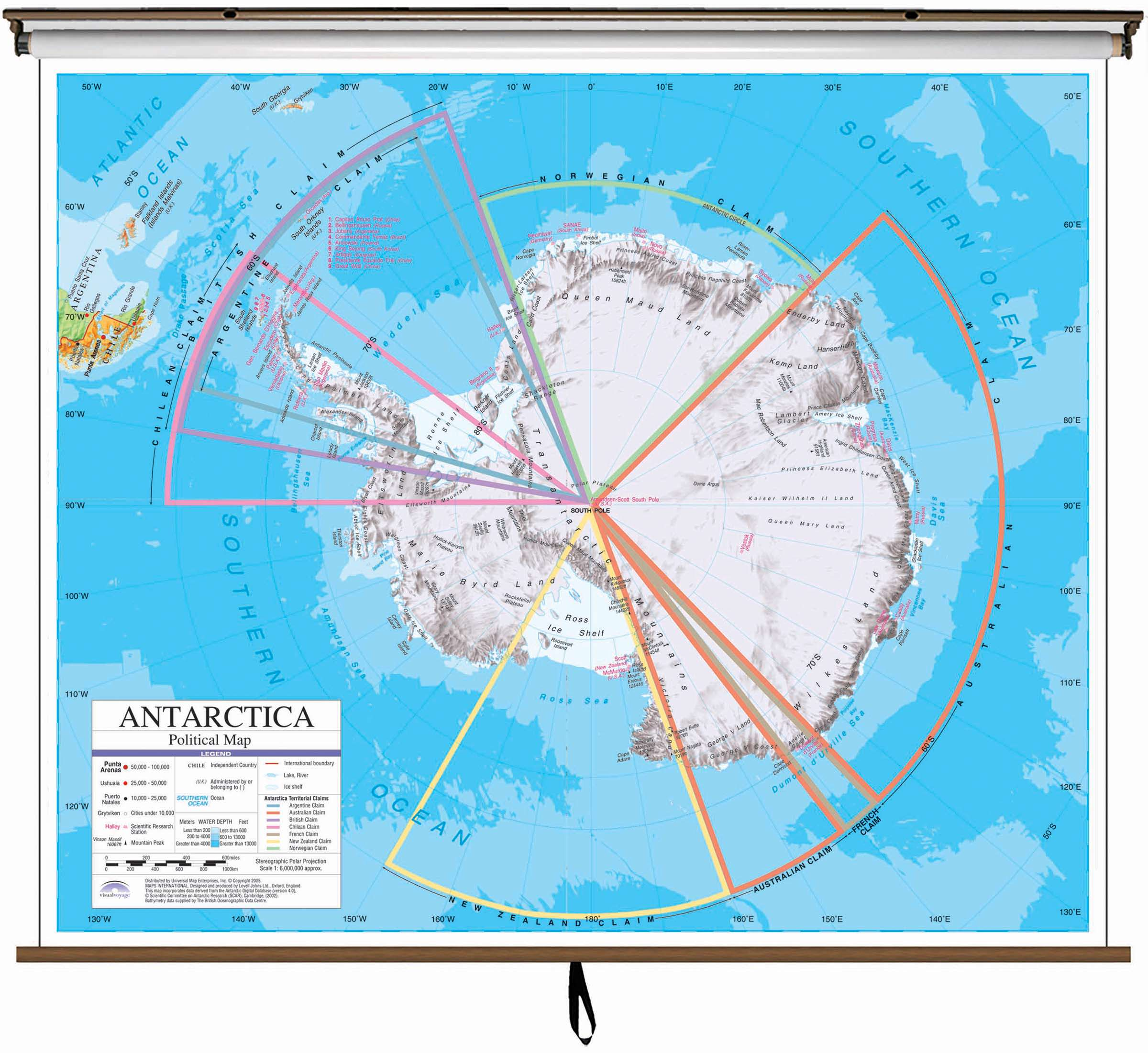 Antarctica Advanced Political Classroom Wall Map On Roller W