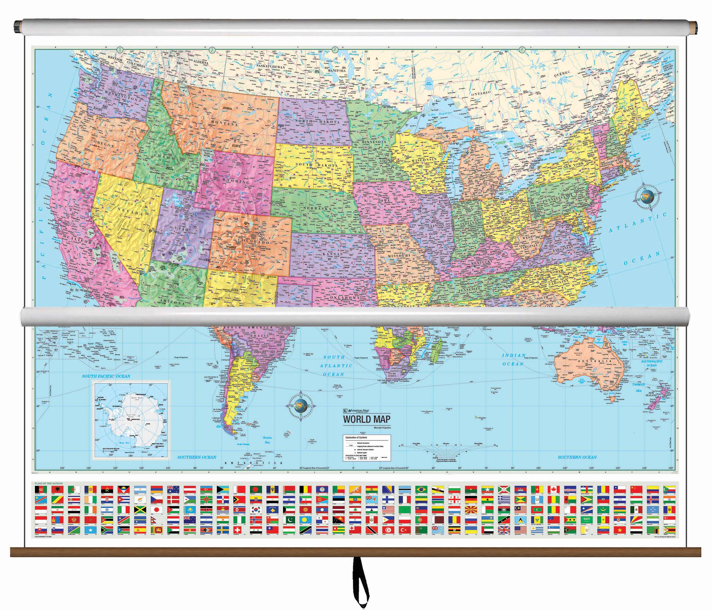 Usworld Advanced Political Classroom Combo Wall Map On Roller - Map-of-us-political