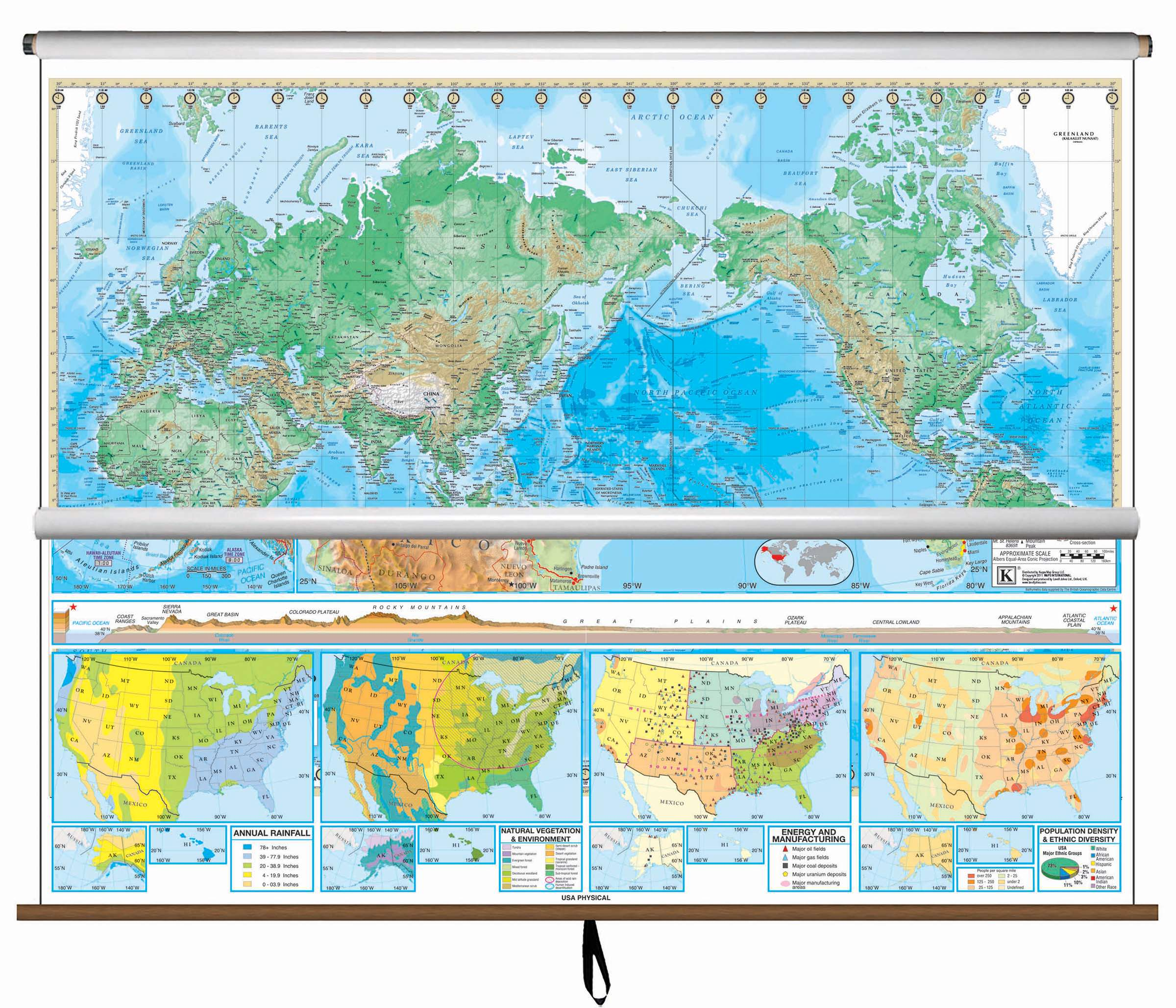 Us And World Map.Us World Advanced Physical Classroom Combo Wall Map On Roller