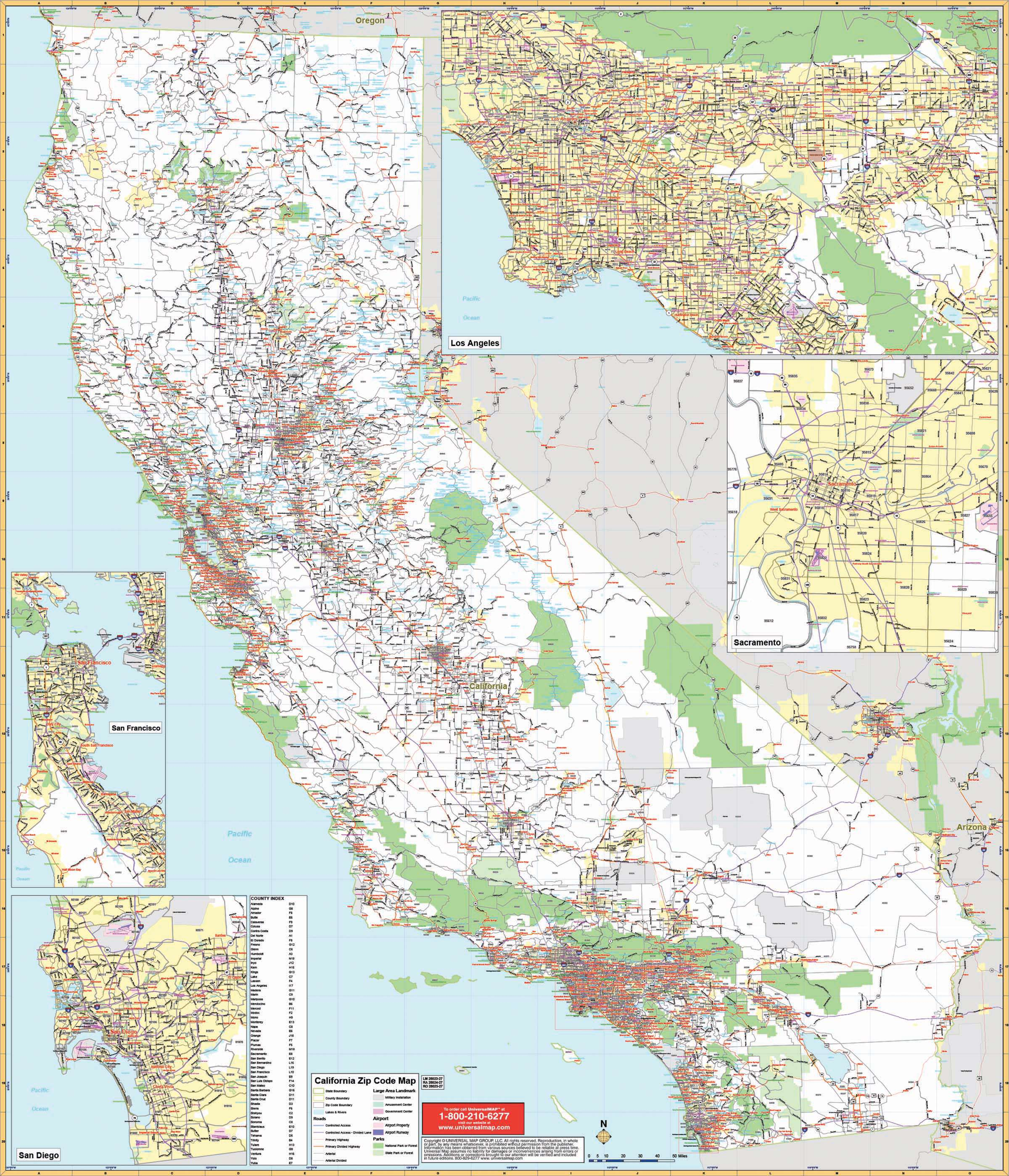 California State Wall Map W Zip Codes Kappa Map Group