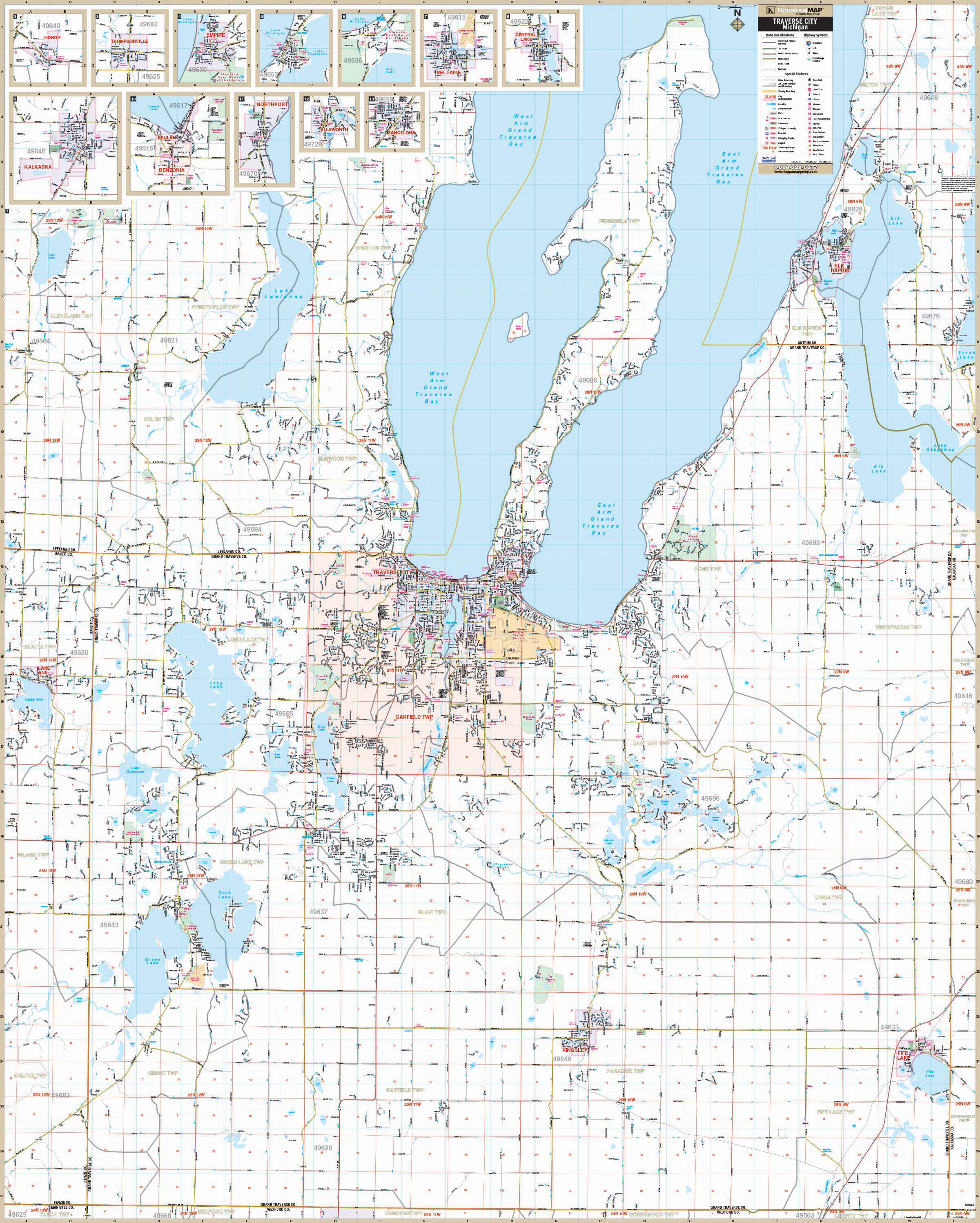 Traverse City Grand Traverse Co Mi Wall Map Kappa Map Group