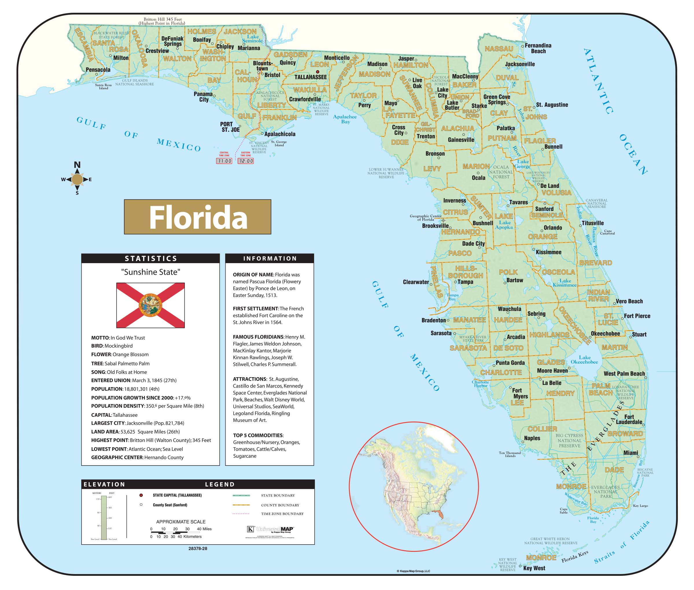 Map De Florida.Florida Shaded Relief Map Kappa Map Group