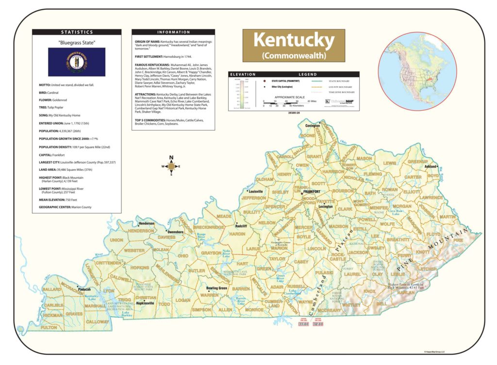 Kentucky Shaded Relief Map – KAPPA MAP GROUP