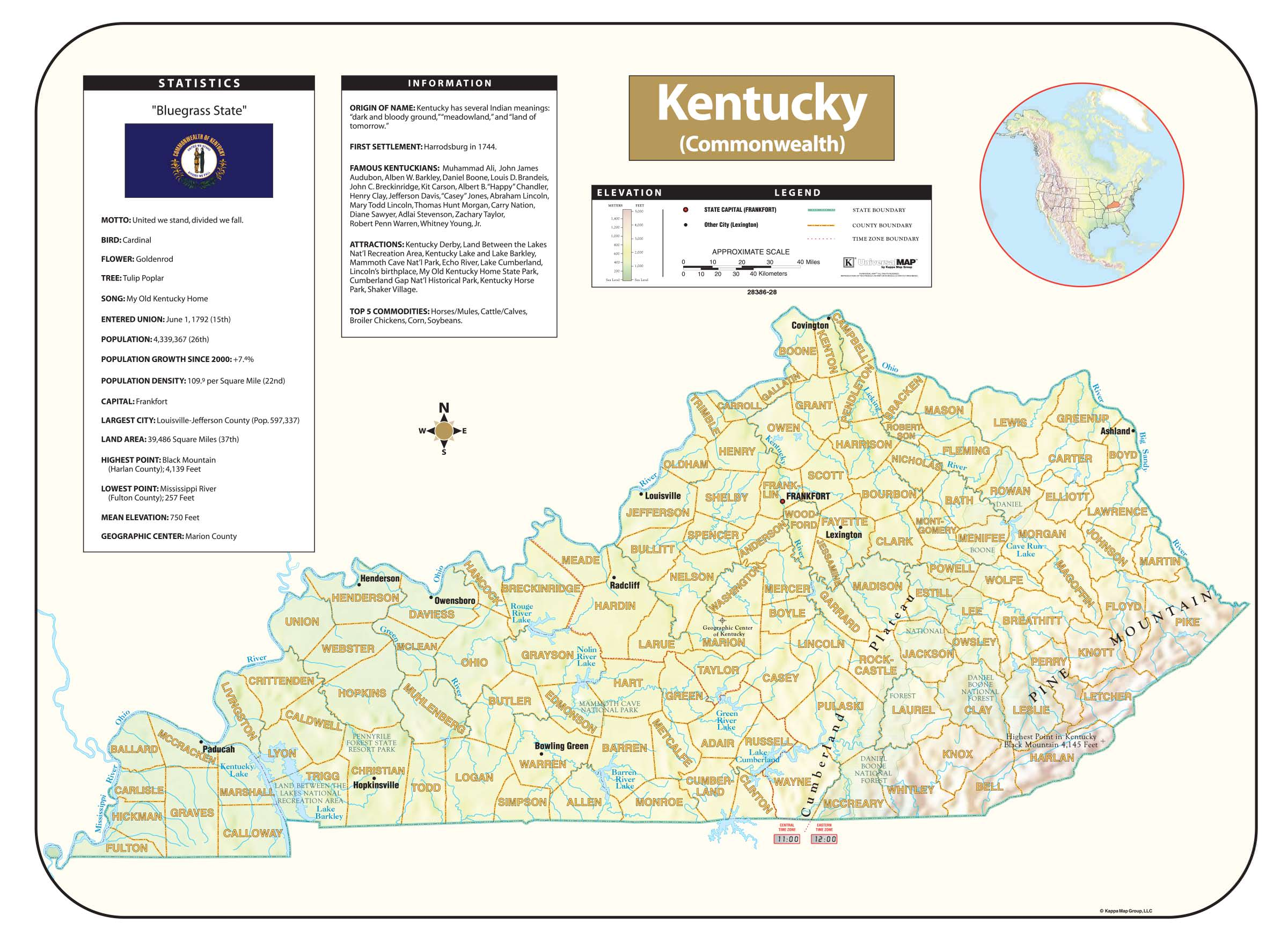 Kentucky shaded relief map kappa map group kentucky shaded relief map publicscrutiny Choice Image