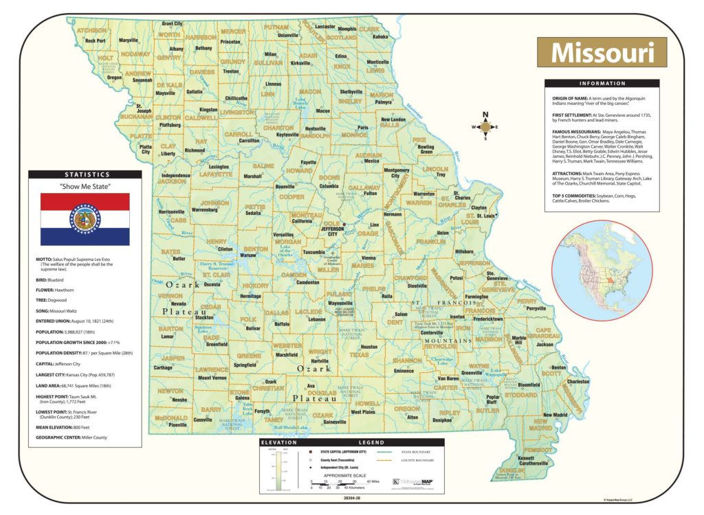 Missouri Shaded Relief Map