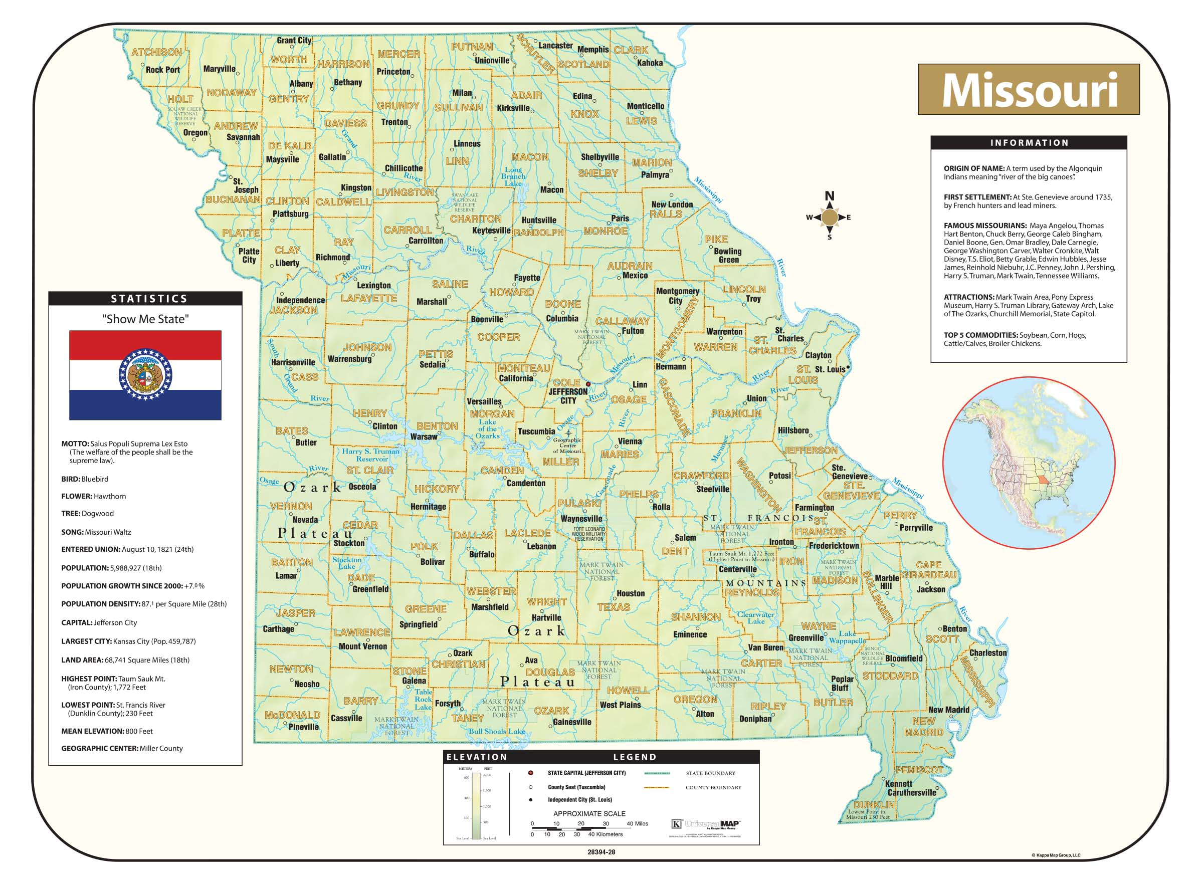 Missouri Shaded Relief Map – KAPPA MAP GROUP