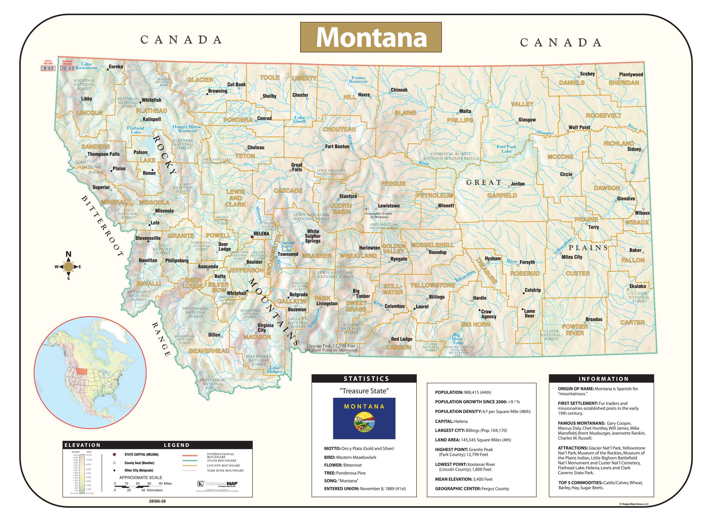 Montana Shaded Relief Map Kappa Map Group