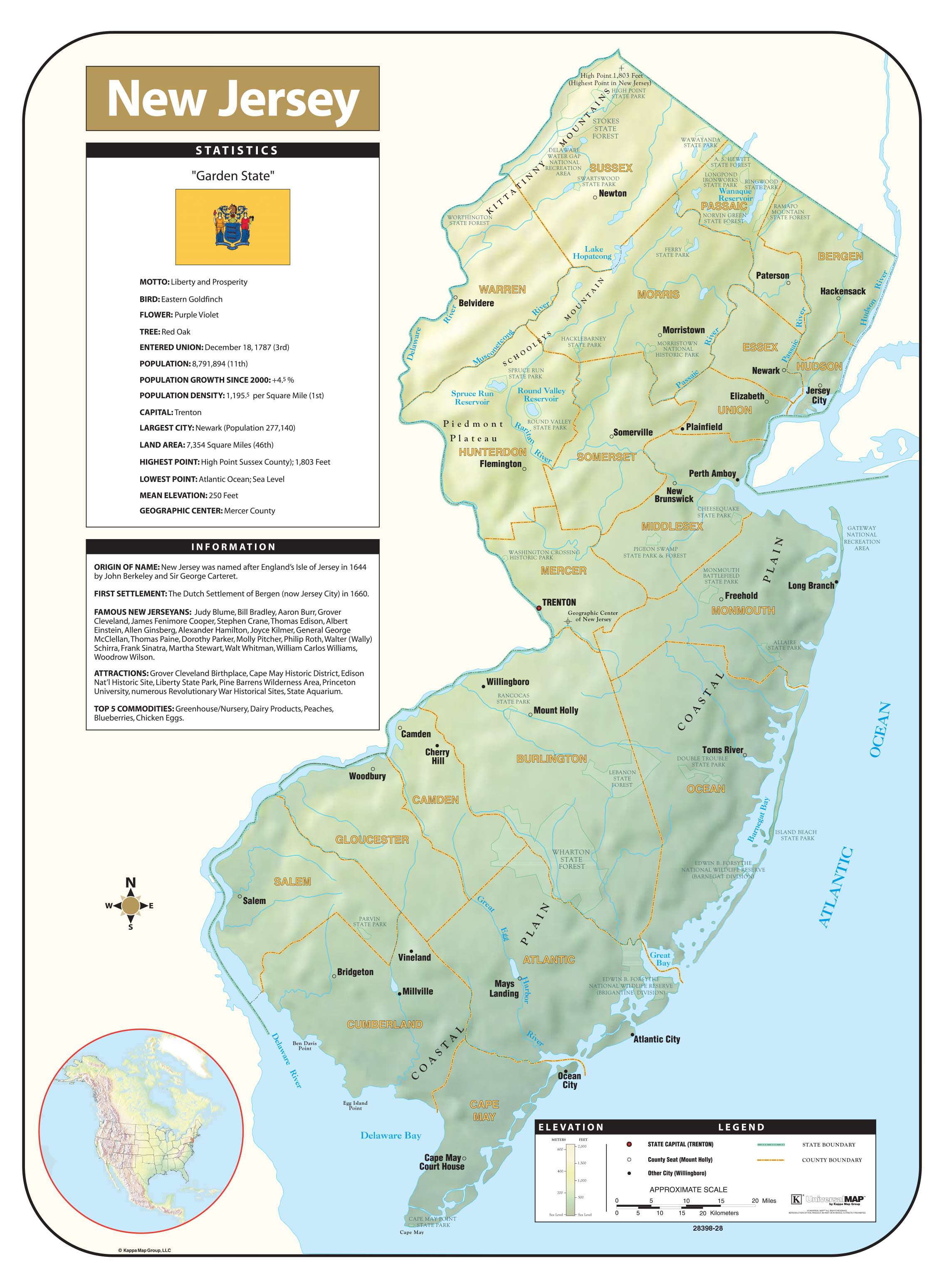 New Jersey Shaded Relief Map – KAPPA MAP GROUP