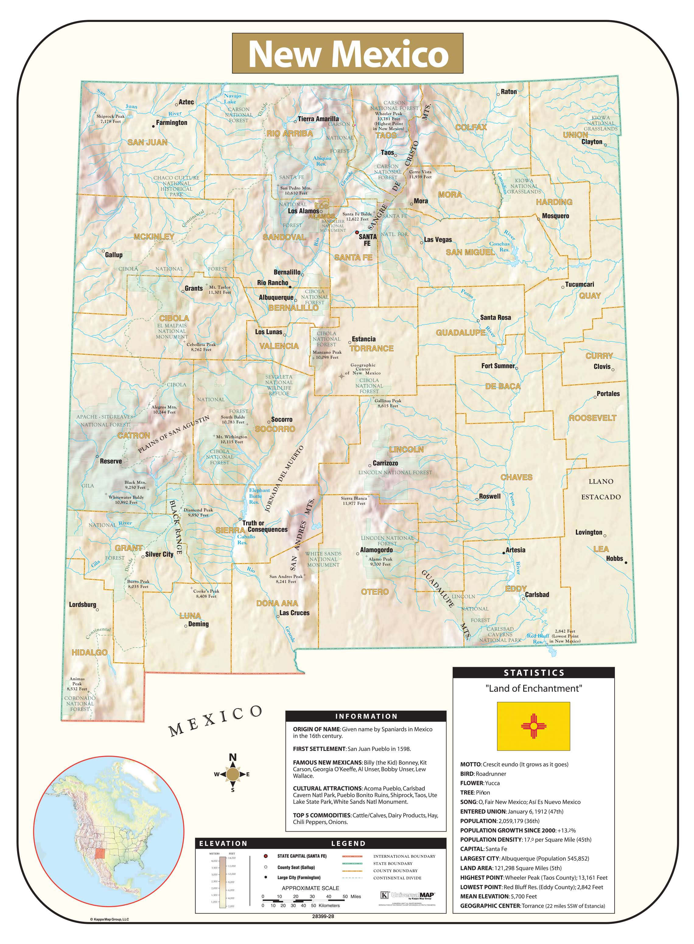 New Mexico Shaded Relief Map KAPPA MAP GROUP