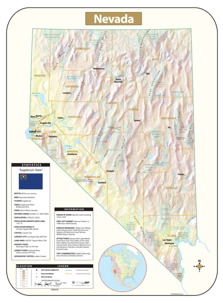 Relief Map Of Virginia.Nevada Shaded Relief Map Kappa Map Group