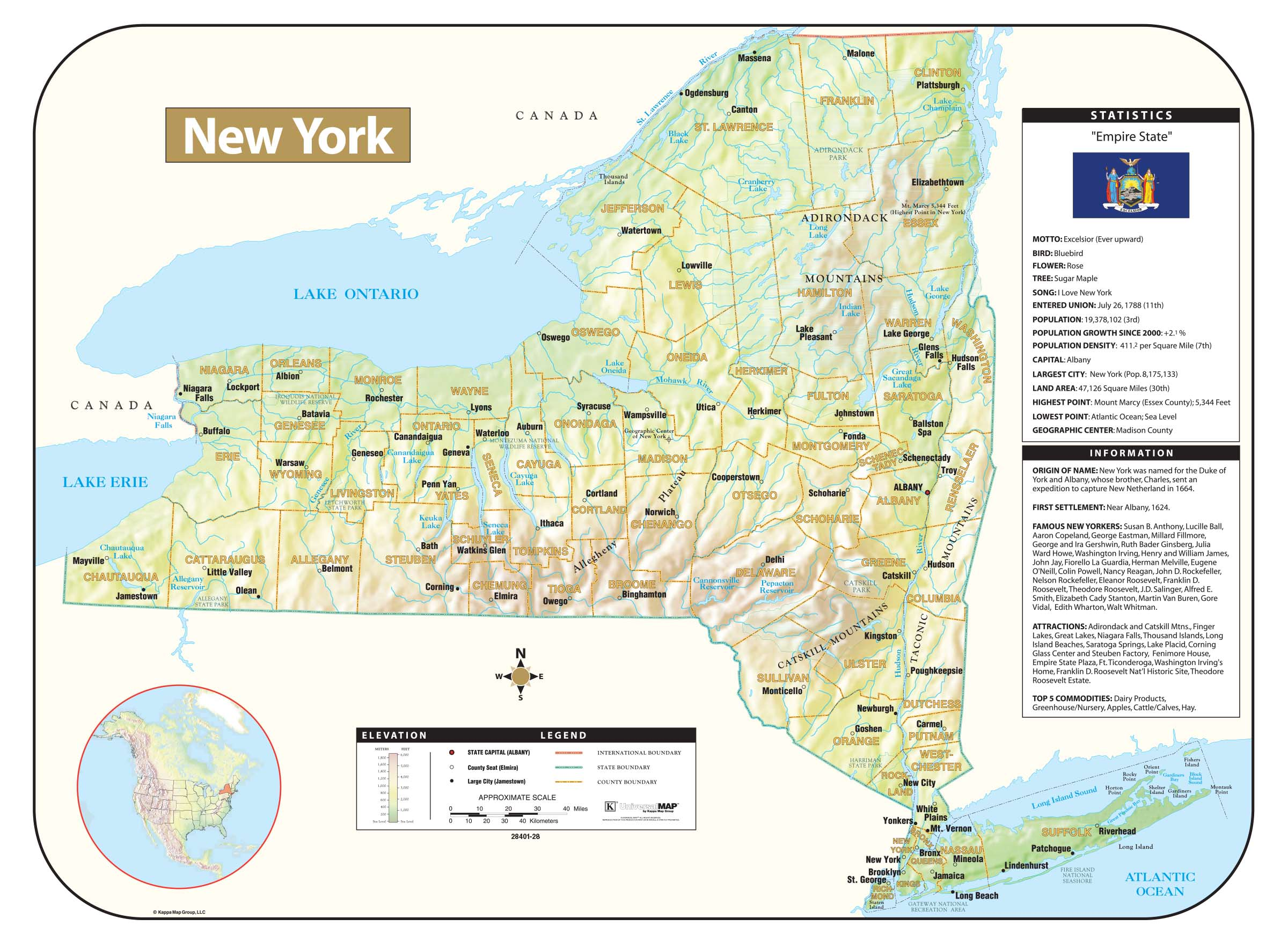 New York Shaded Relief Map