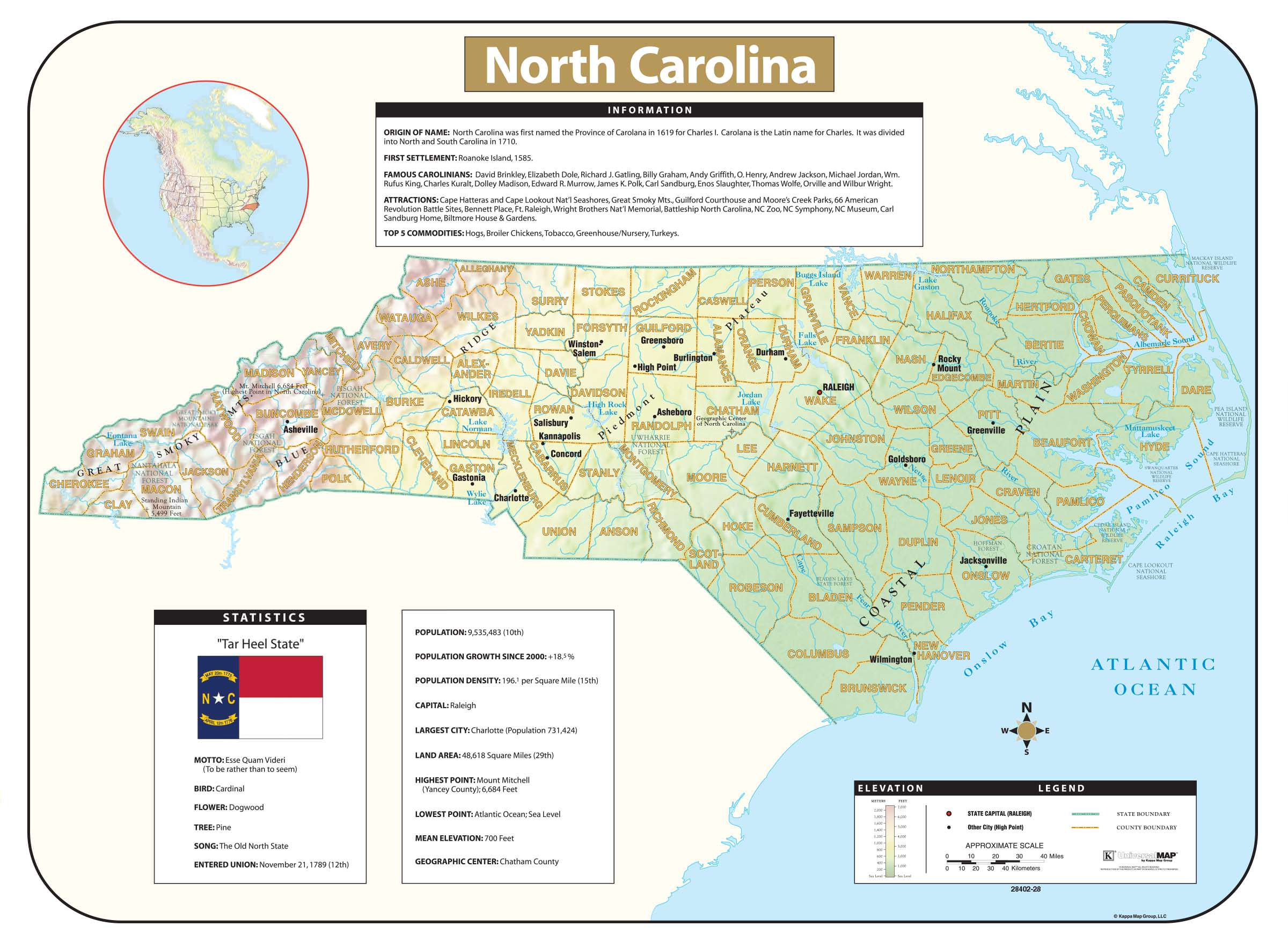 North Carolina Shaded Relief Map