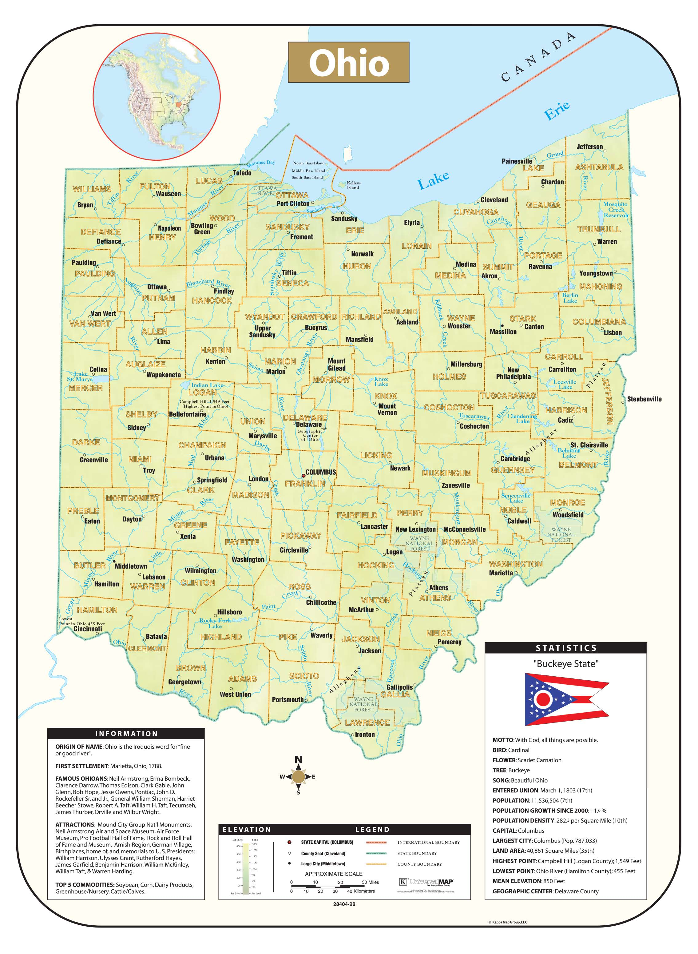 Image of: Ohio Shaded Relief Map Kappa Map Group