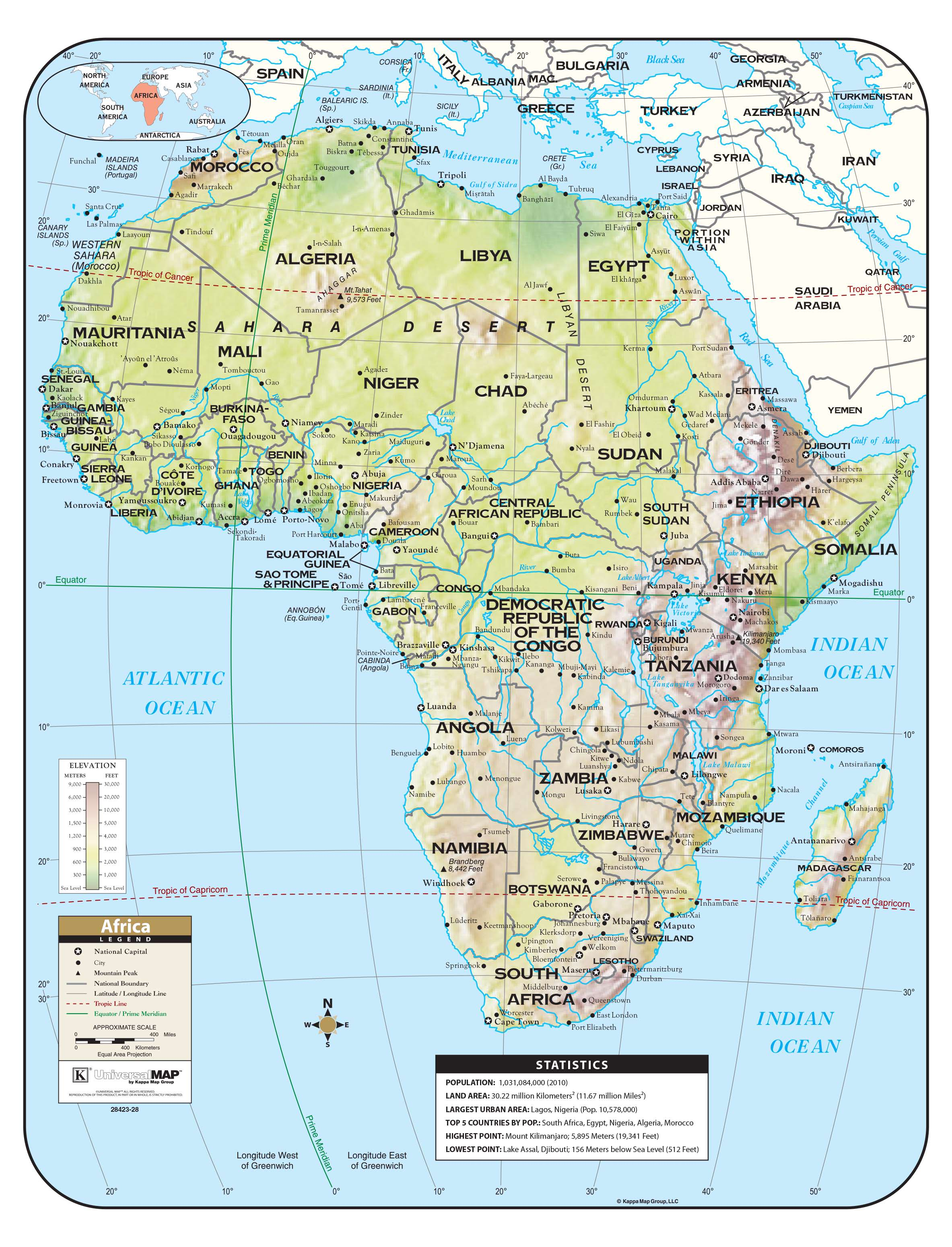 Map Of Africa Equator.Africa Shaded Relief Map