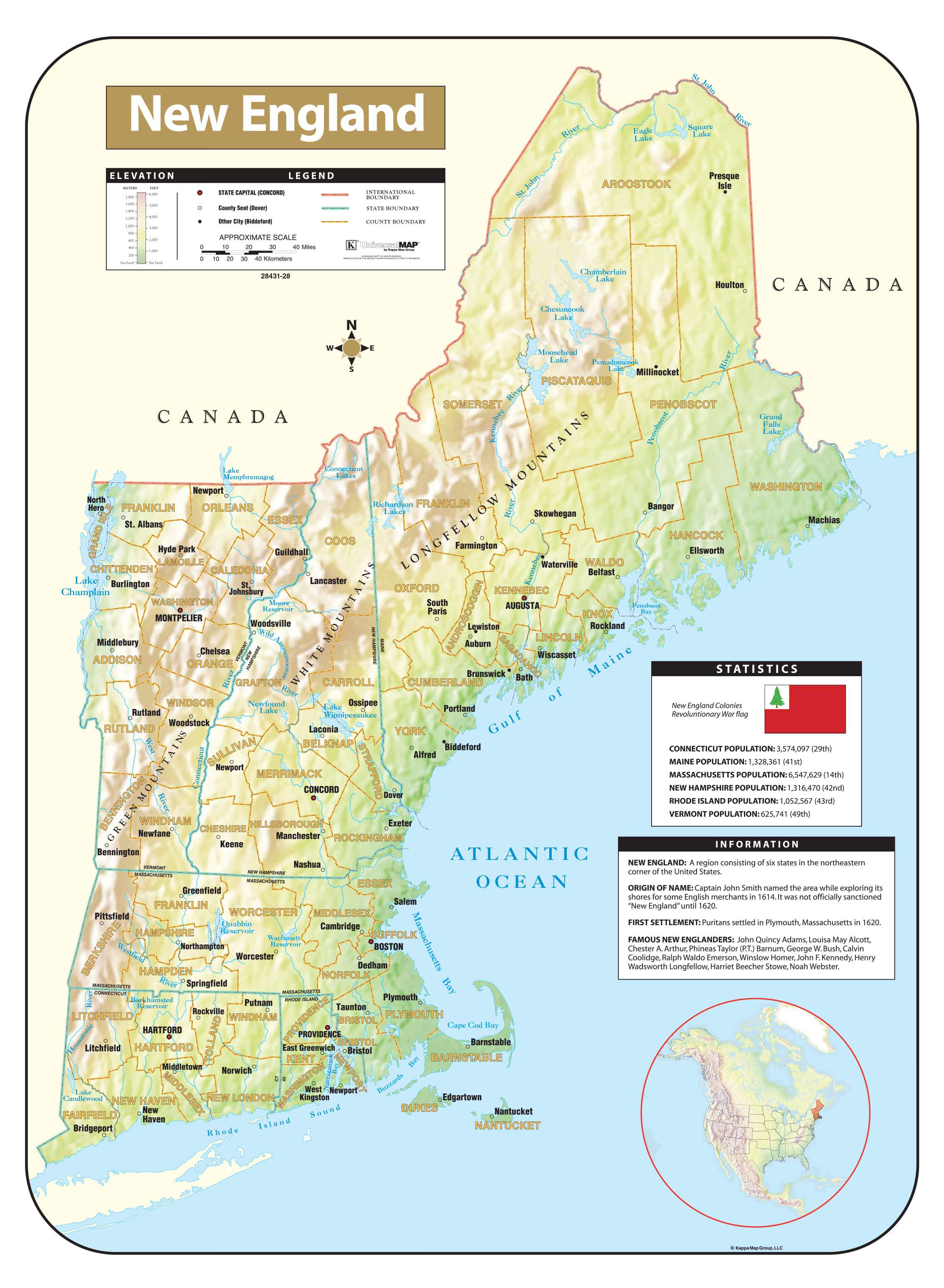 New England Shaded Relief Map – KAPPA MAP GROUP