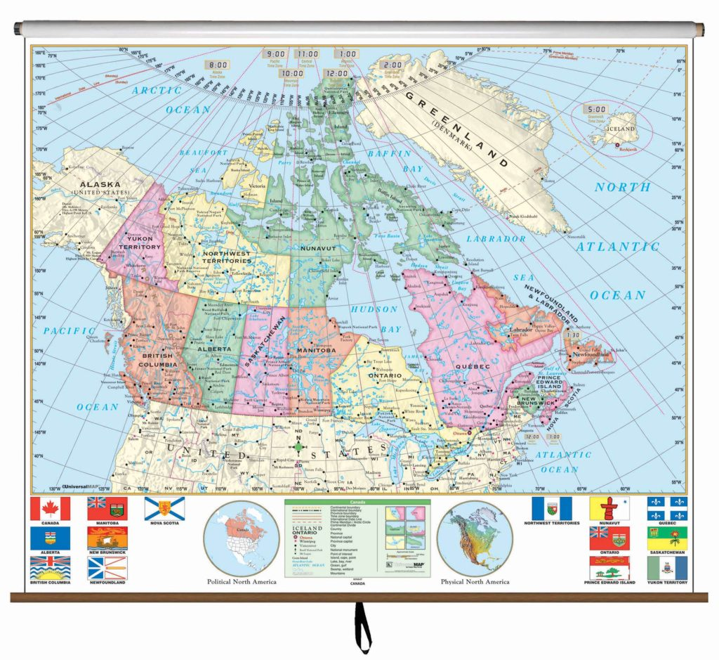 Products kappa map group canada essential classroom wall map on roller sciox Images