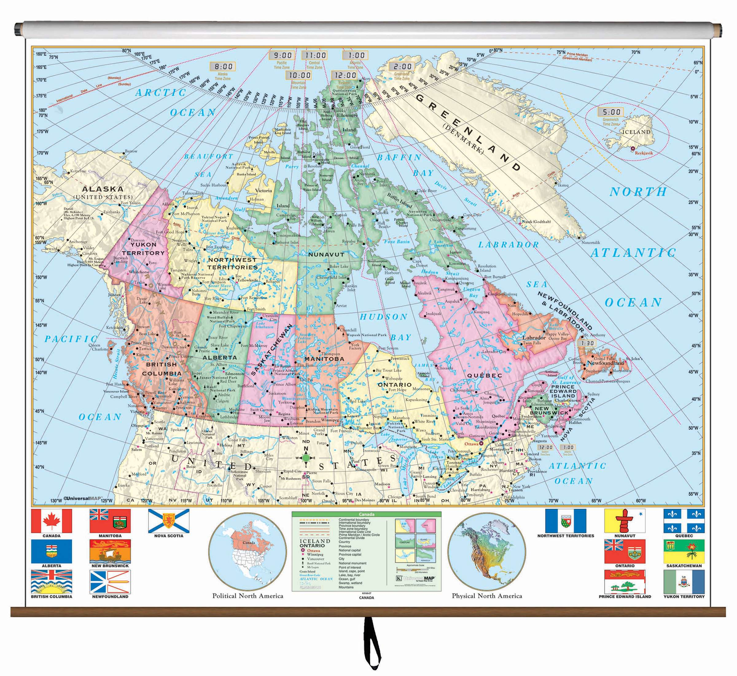 Map Of Canada And Surrounding Countries.Canada Essential Classroom Wall Map On Roller Kappa Map Group
