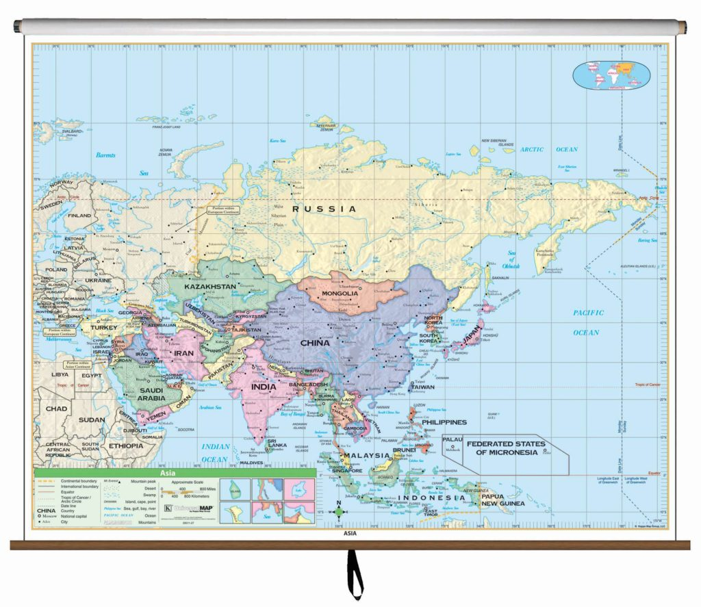 Asia Essential Classroom Wall Map on Roller – KAPPA MAP GROUP