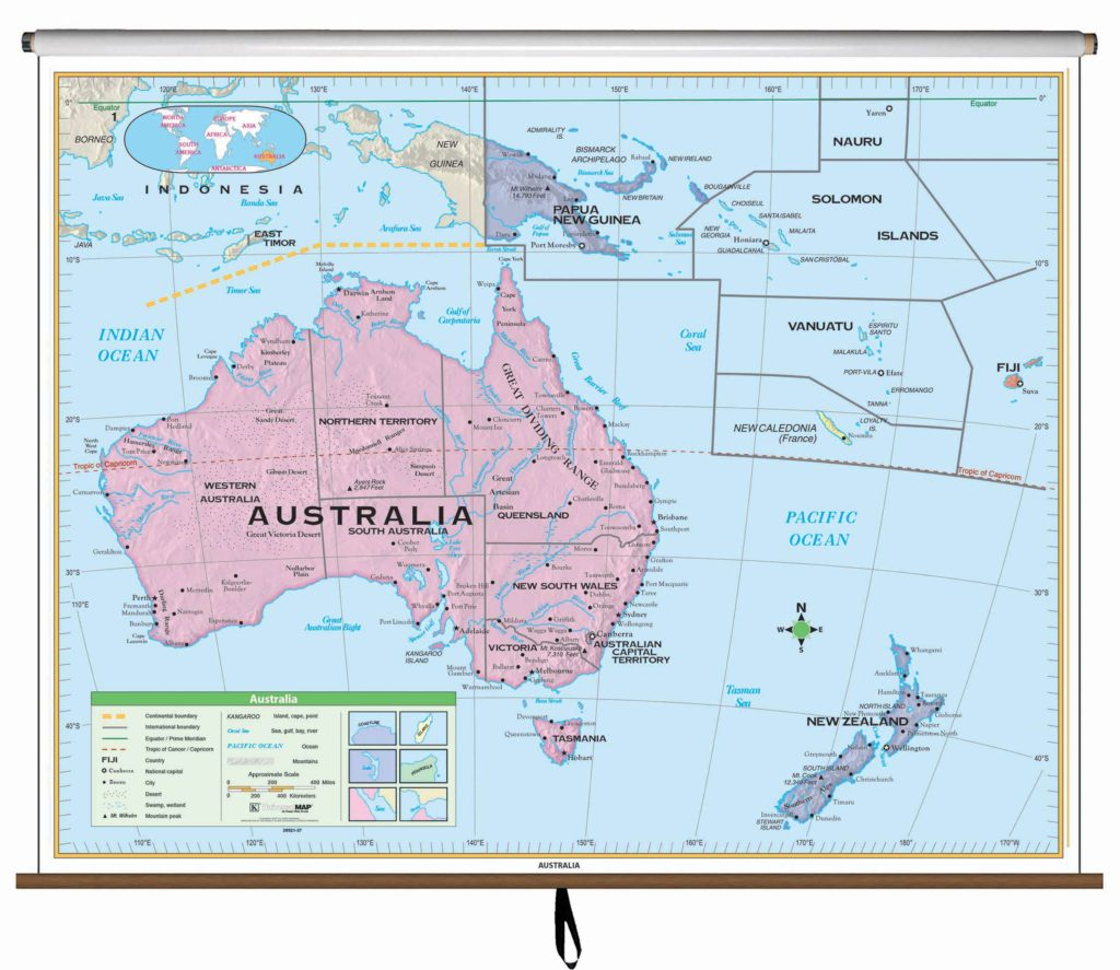 World scholastic atlas kappa map group australia essential classroom wall map on roller gumiabroncs Images