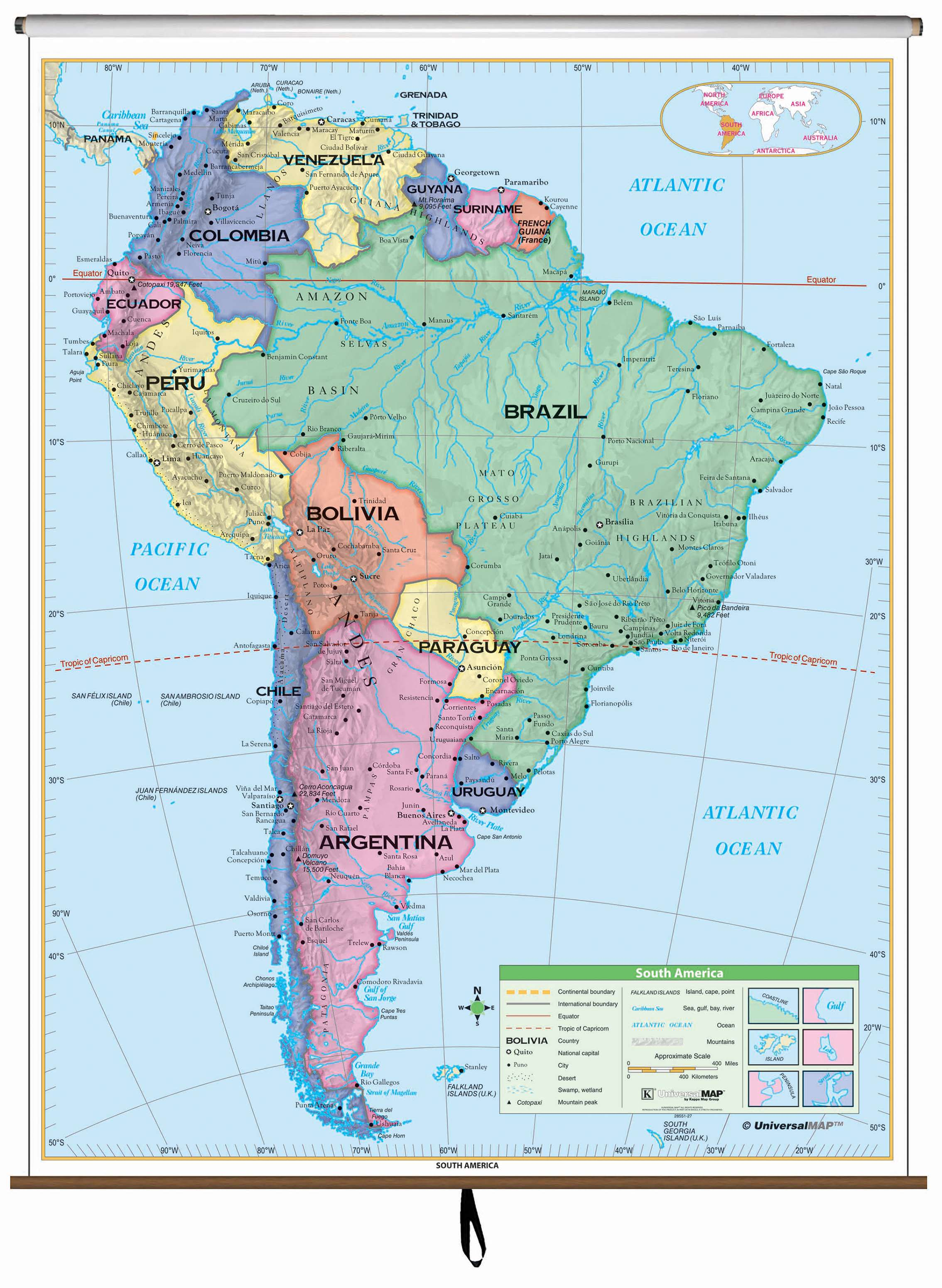 South America Essential Classroom Wall Map On Roller Kappa Map Group