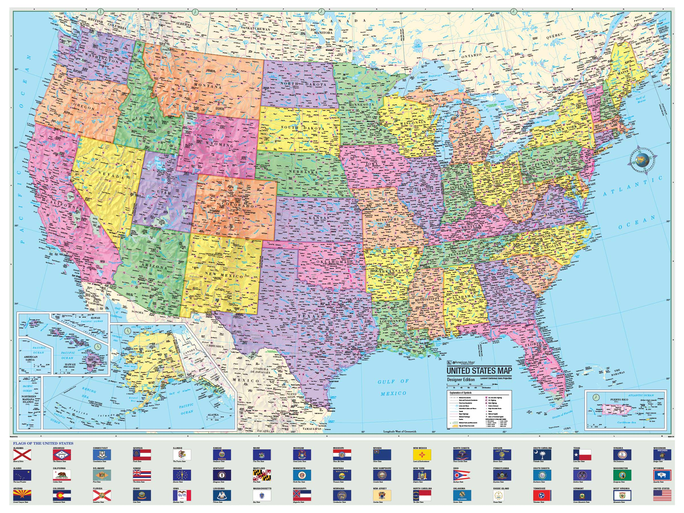 Us Advanced Political Rolled Map Paper Kappa Map Group