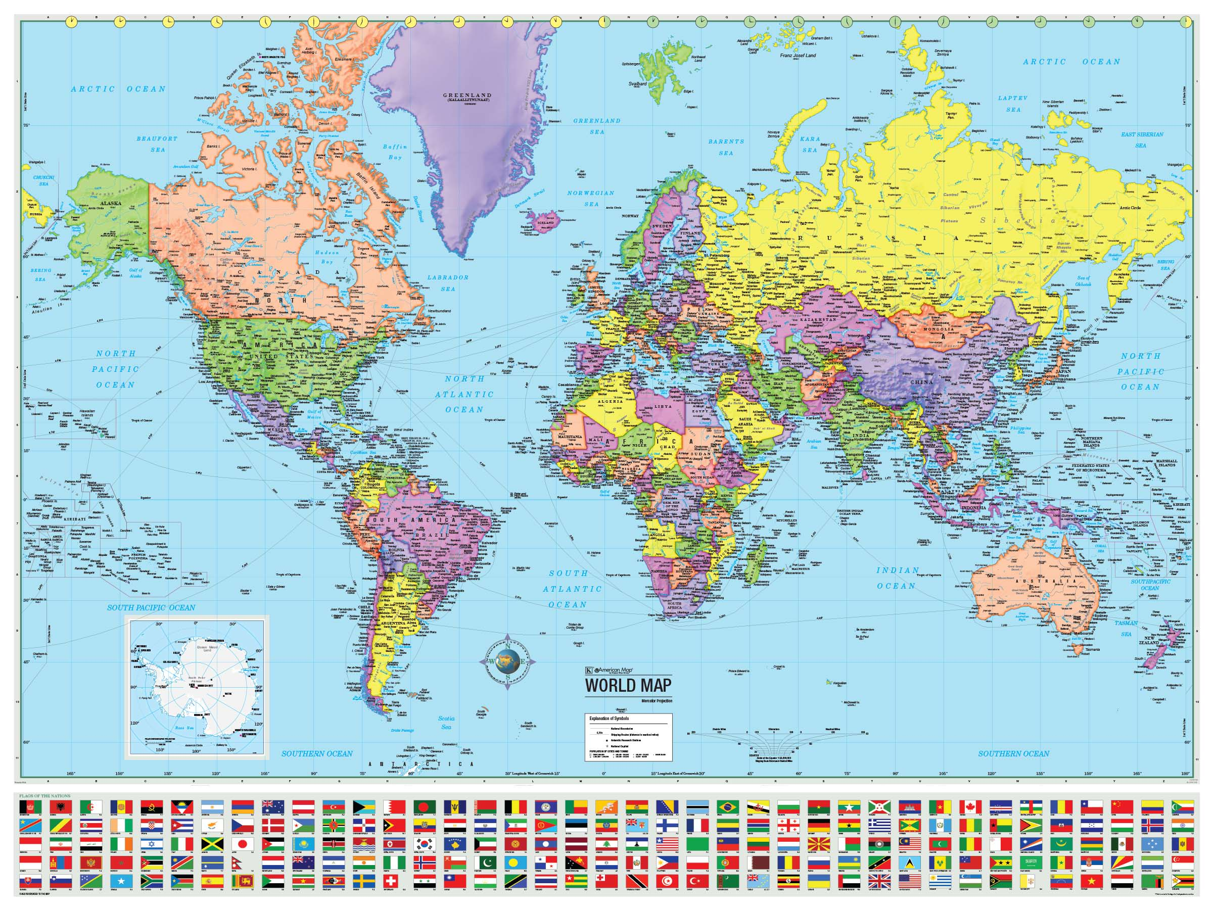 world advanced political rolled map laminated