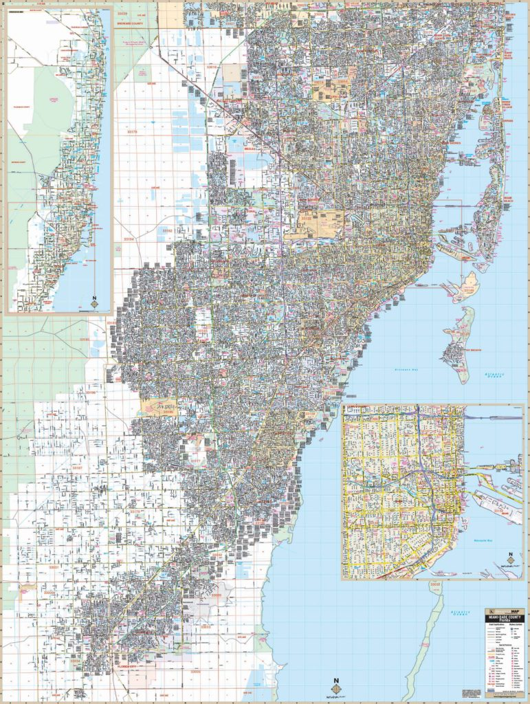 miami-dade county, fl wall map – kappa map group