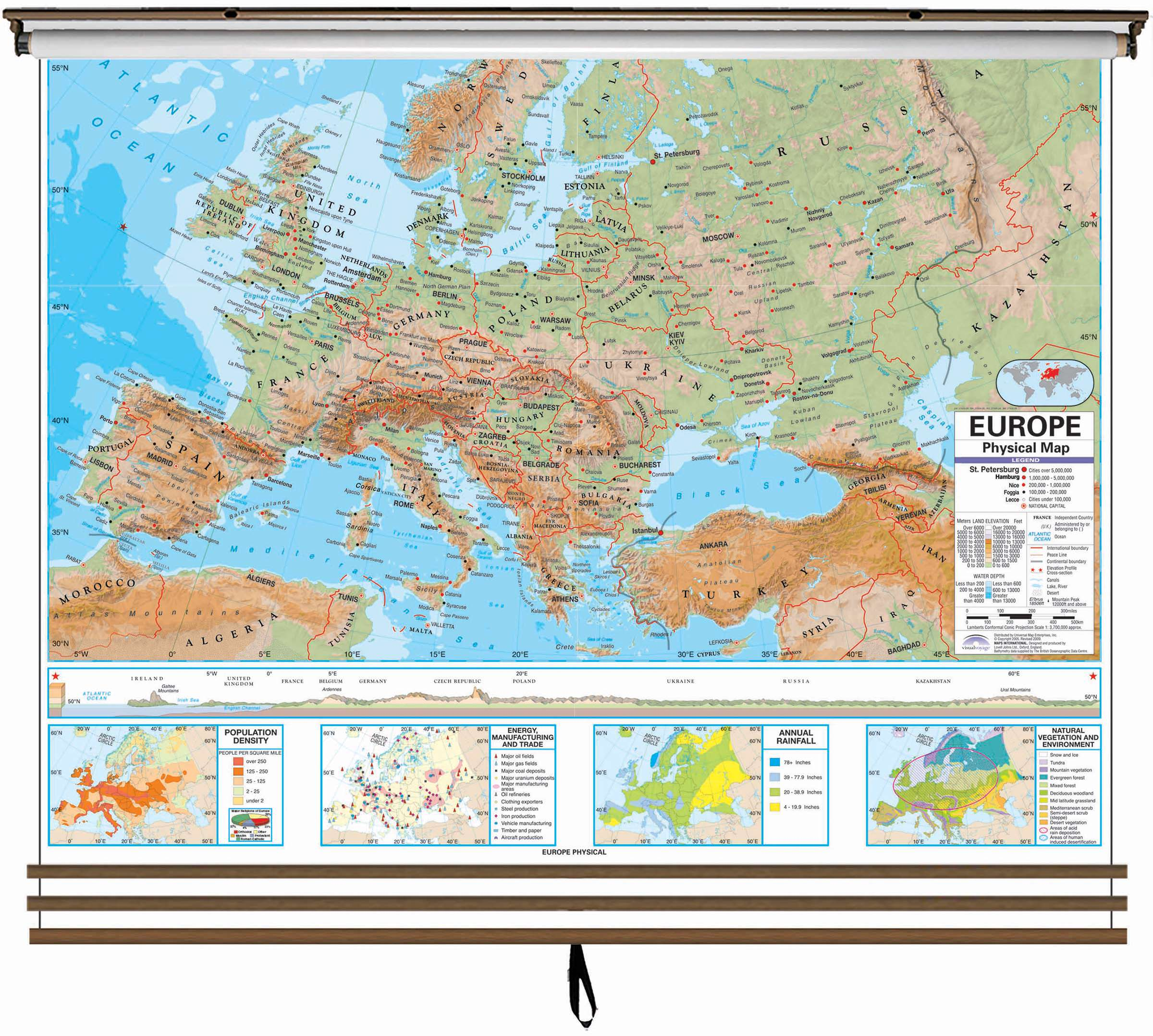Eastern Hemisphere Advanced Physical Wall Map Set On Roller W