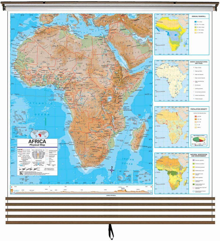 advanced physical continent wall map set on roller w backboard 5 map set