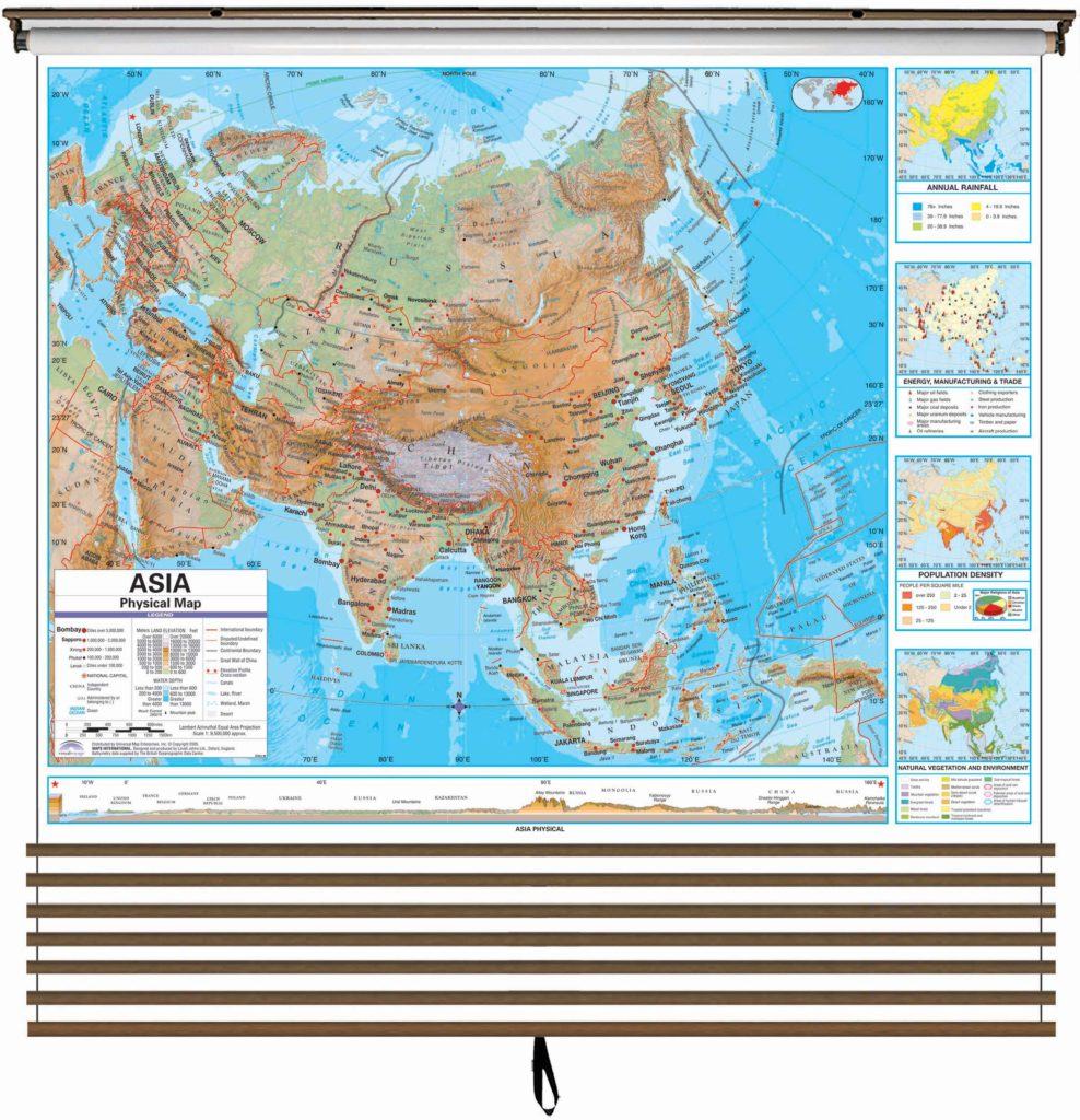 advanced physical continent wall map set on roller w backboard 7 map set