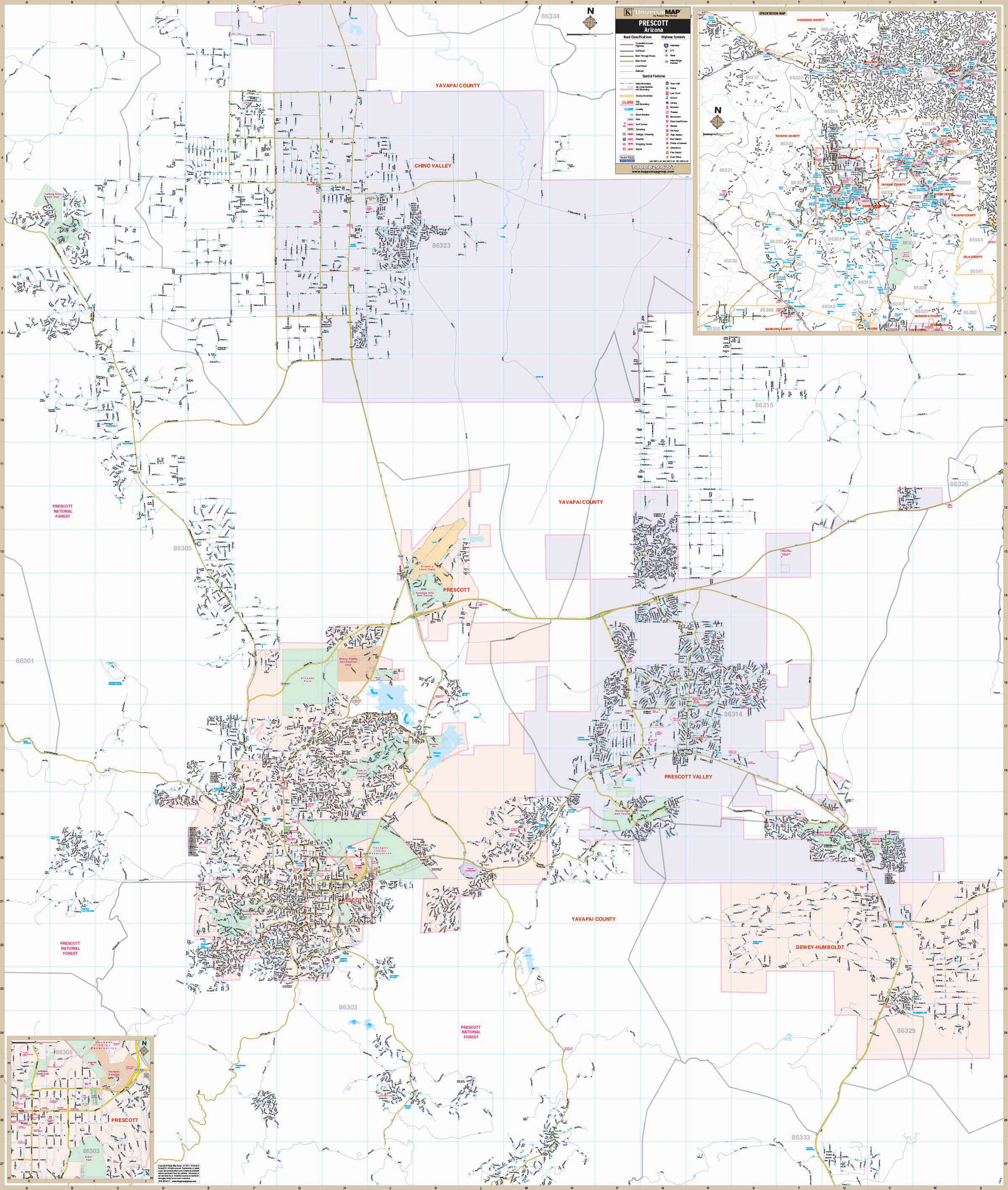 Map Of Arizona Prescott.Prescott Az Wall Map Kappa Map Group