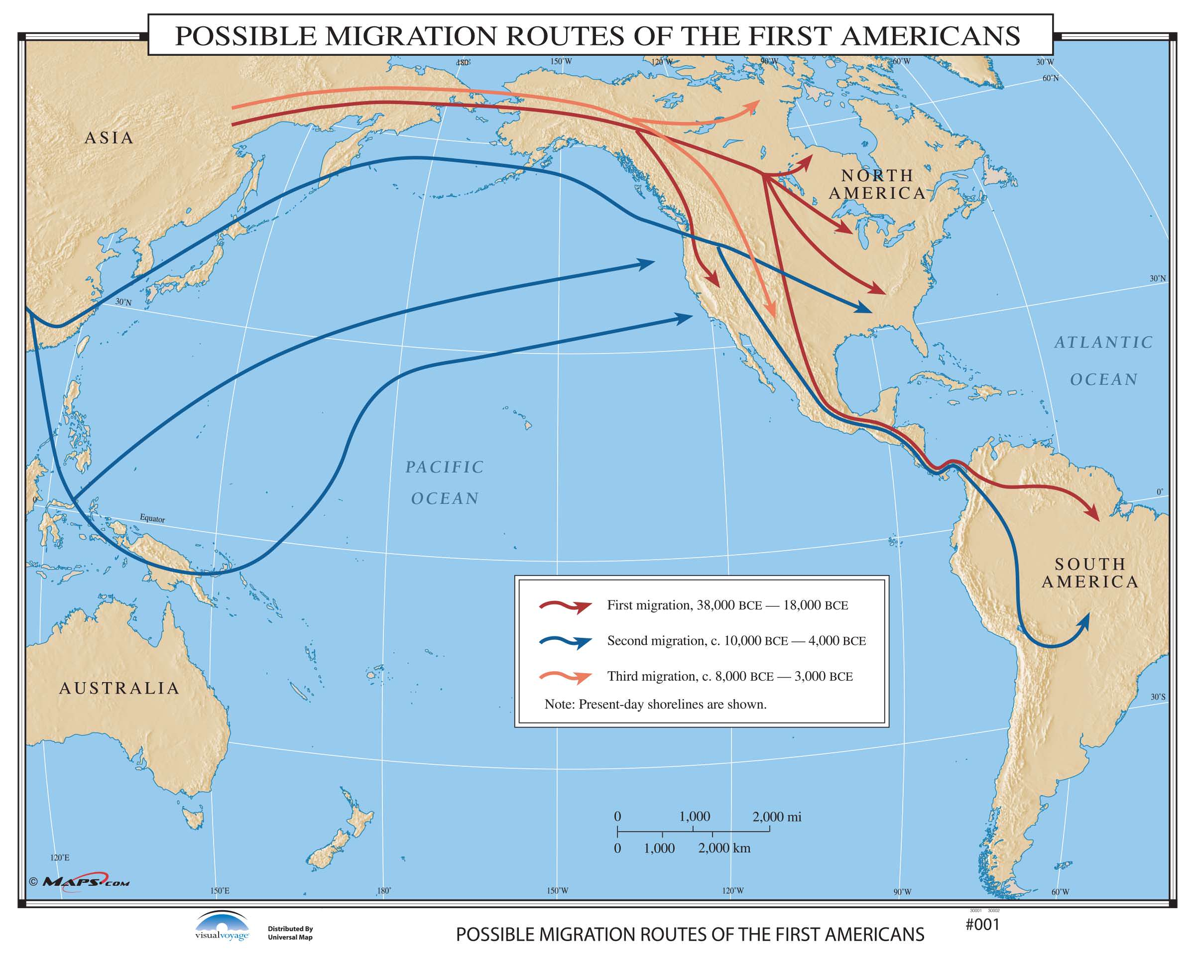 001 possible migration routes of the first americans