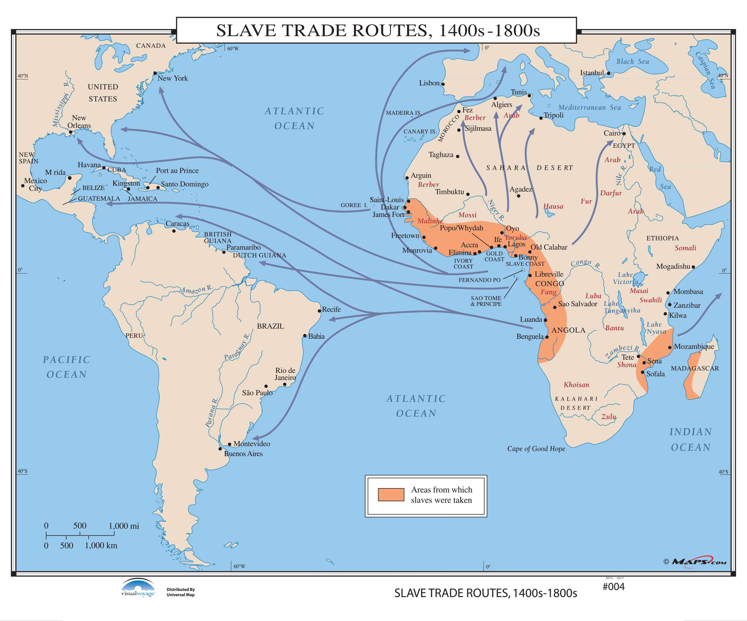 Slave Trade Map 004 Slave Trade Routes, 1400s 1800s – KAPPA MAP GROUP
