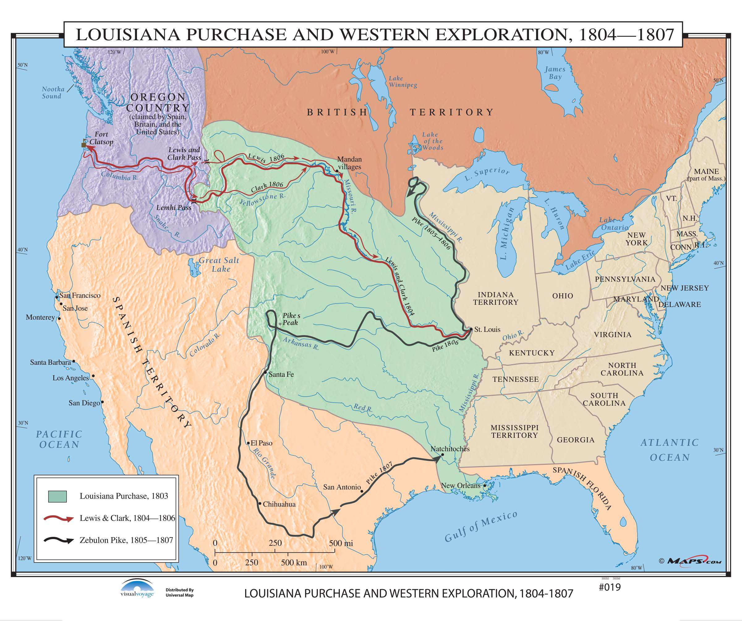 Map Of Louisiana Territory.019 Louisiana Purchase Western Exploration 1804 1807 Kappa Map