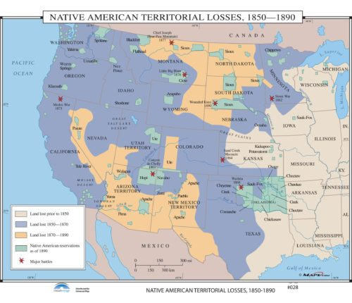 Mexico Map 1850.028 Native American Territorial Losses 1850 1890 Kappa Map Group