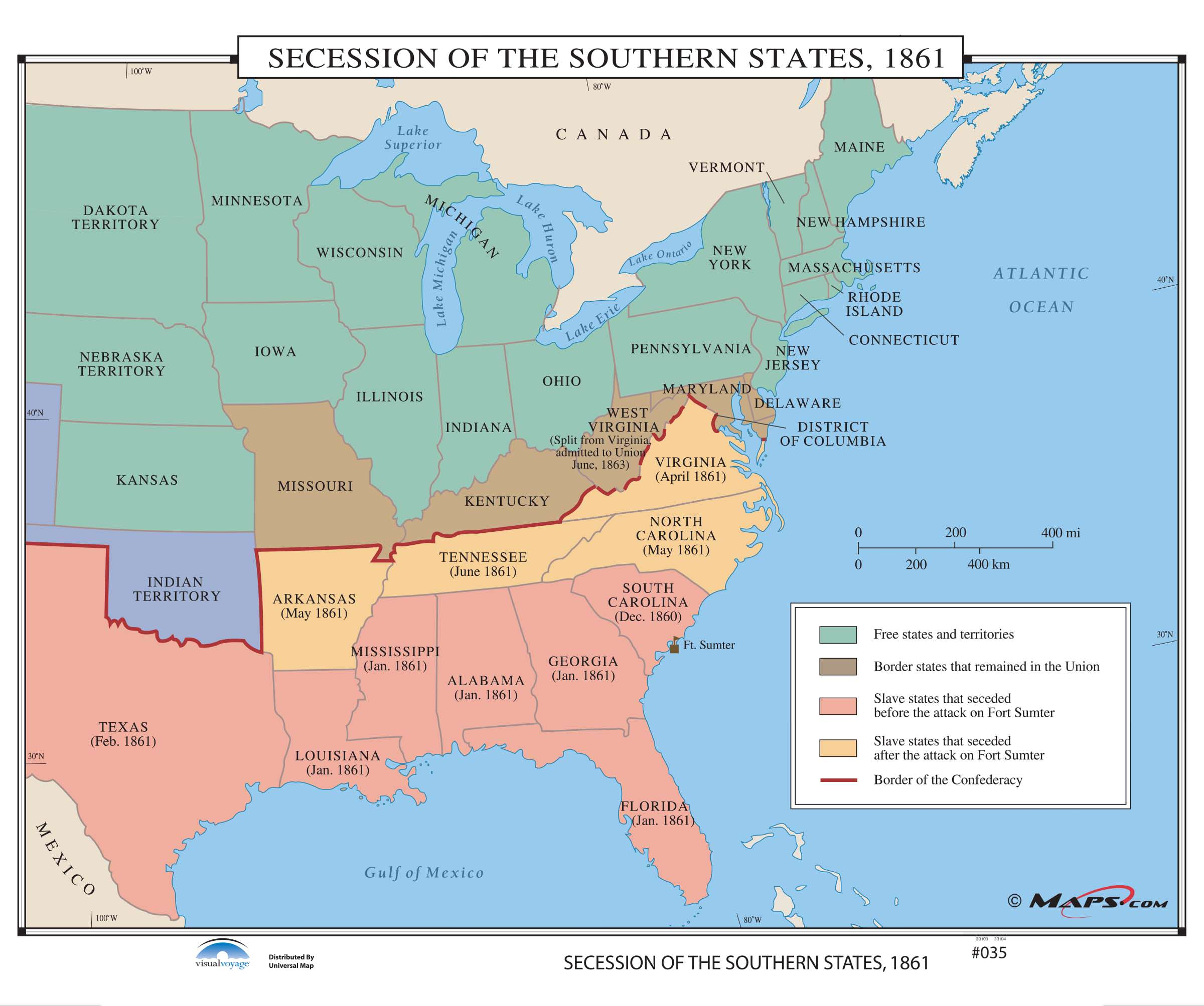 Us Map In 1861.035 Secession Of The Southern States 1861 Kappa Map Group