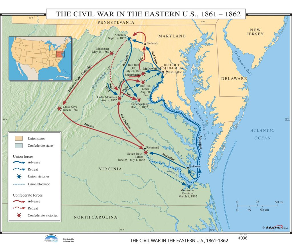 036 The Civil War In The Eastern Us 1861 1862 Kappa Map Group - Map-of-the-us-in-1861