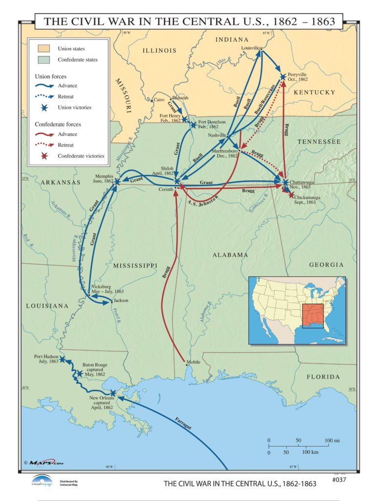 The Civil War In The Central US KAPPA MAP GROUP - Us map 1862