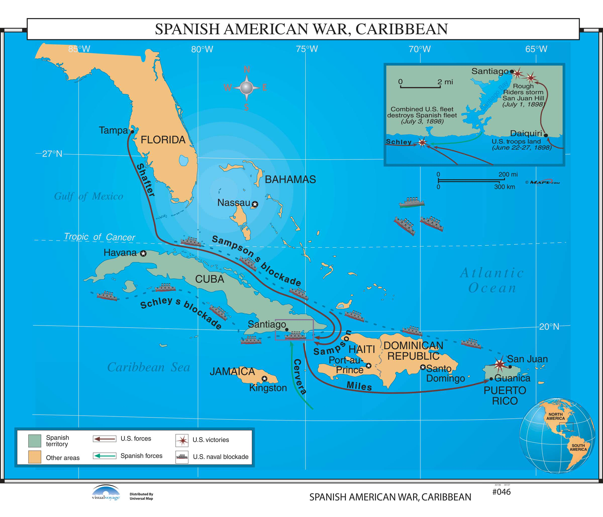 Map Of Spain For Classroom.046 Spanish American War Caribbean Kappa Map Group