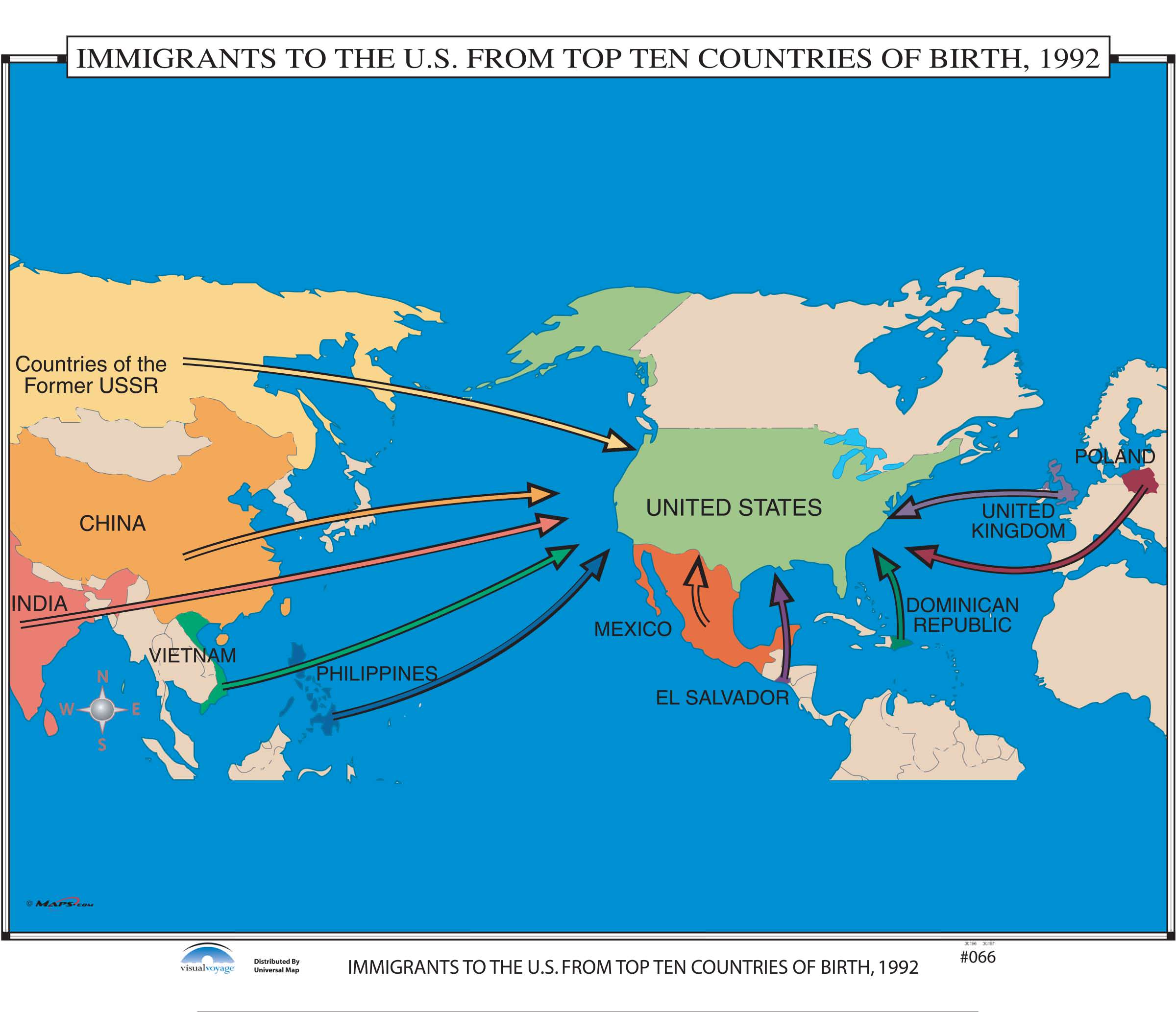 066 Immigrants To The Us From Top Ten Countries Of Birth 1992 - Map-of-immigrants-in-the-us
