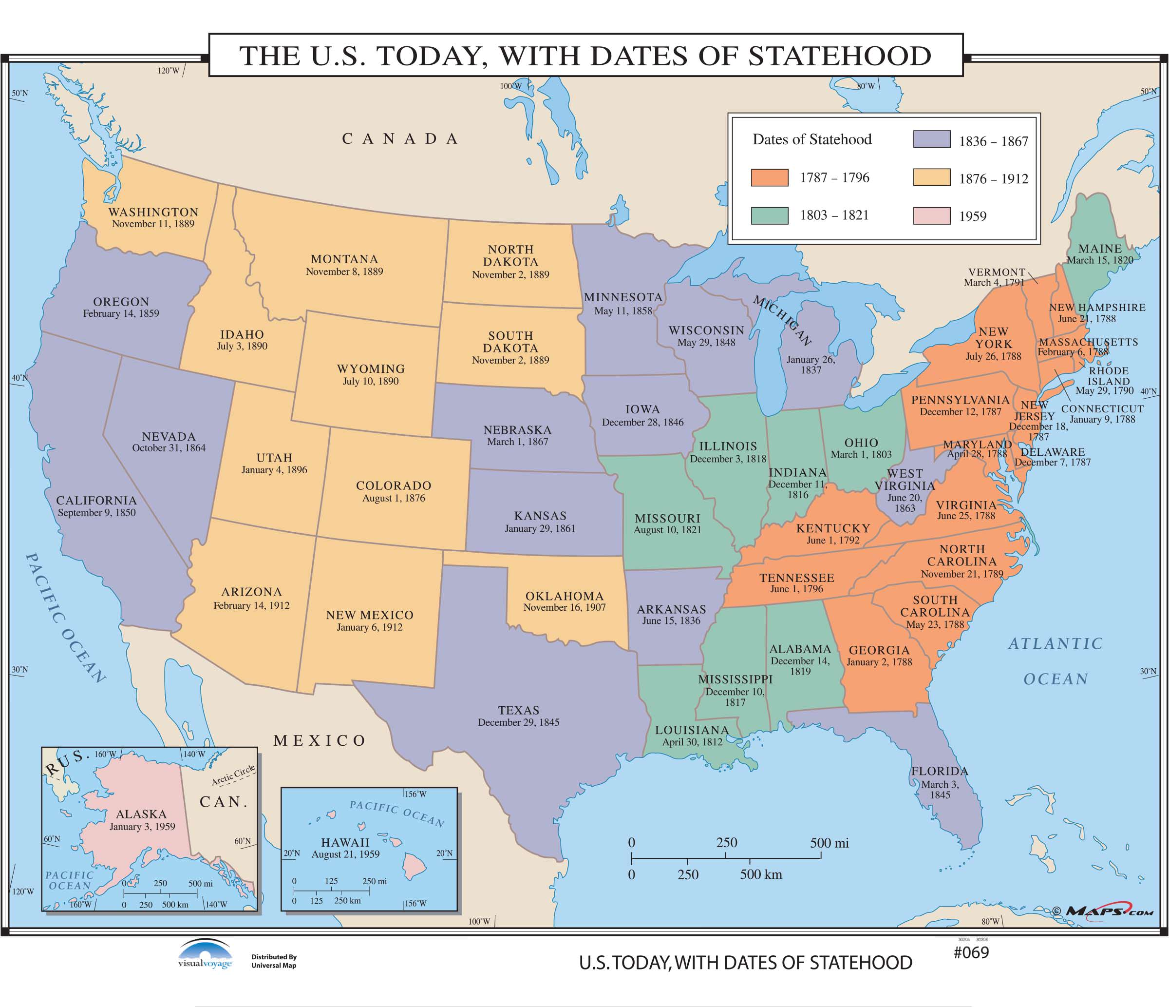 069 the us today with dates of statehood