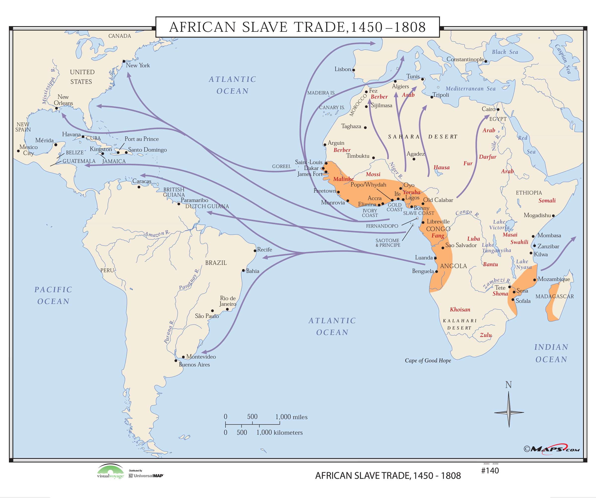 Slave Trade Map 140 African Slave Trade, 1450 1808 – KAPPA MAP GROUP