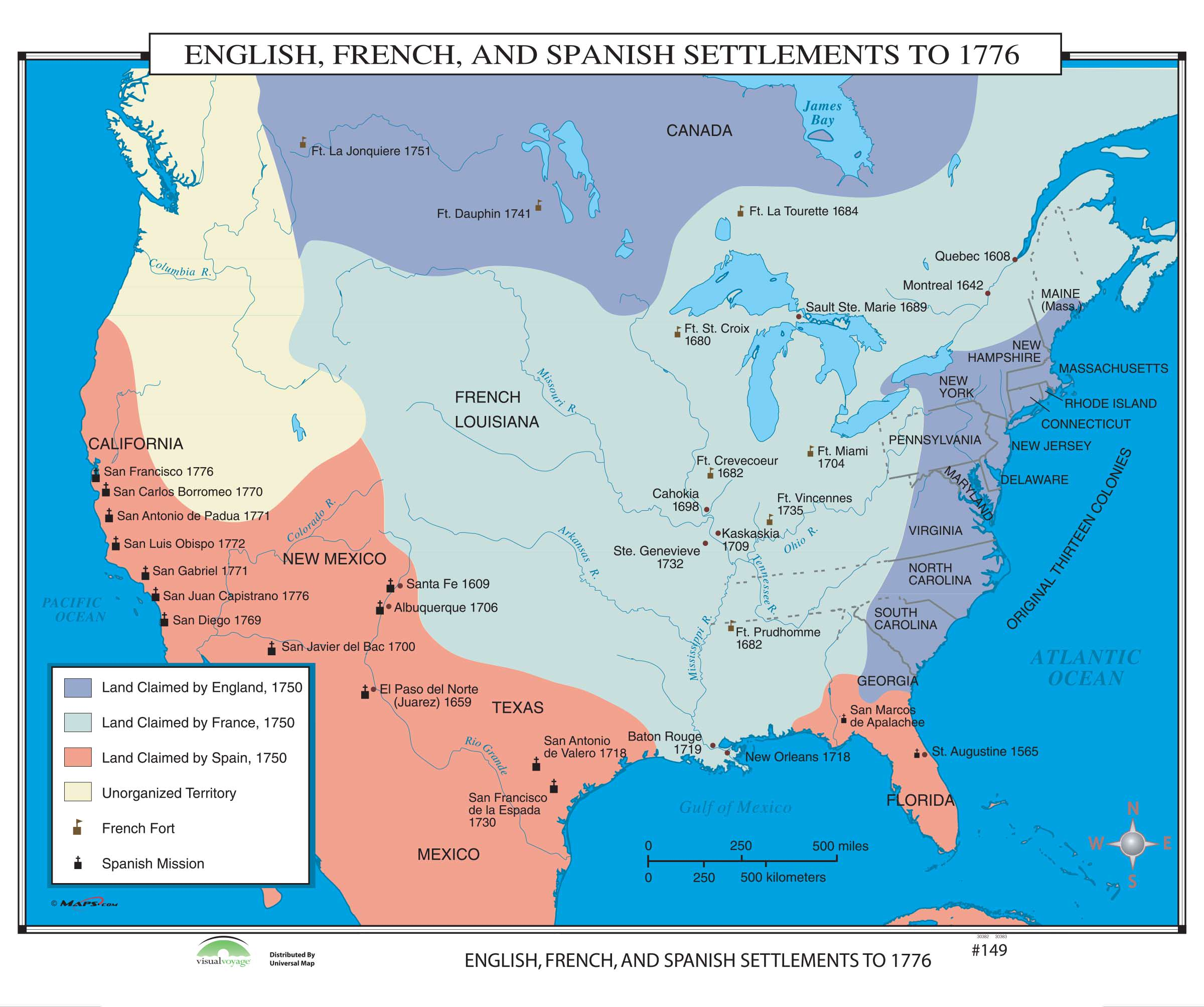 Map Of Spain For Classroom.149 English French Spanish Settlements To 1776 Kappa Map Group