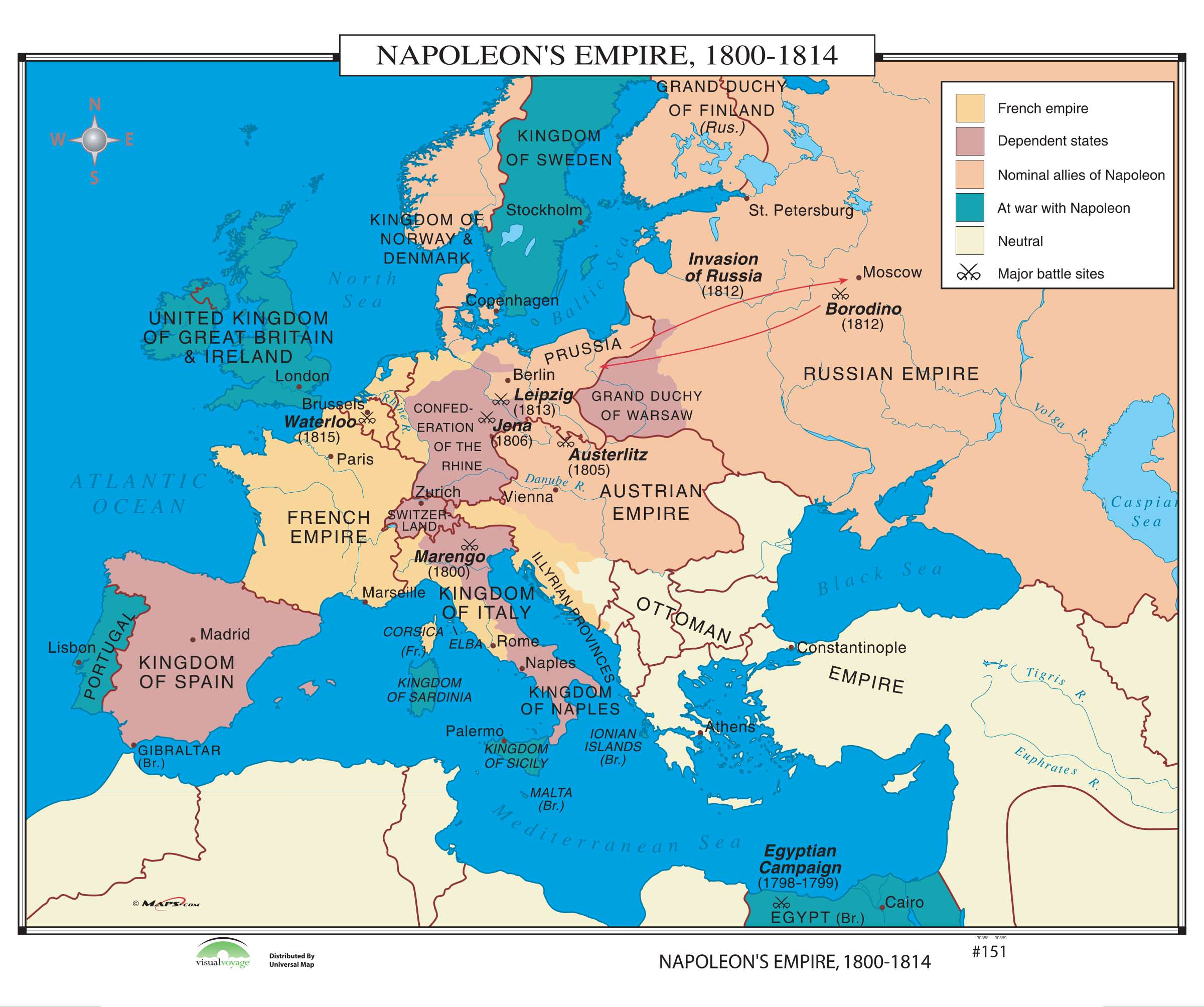 1800 Map Of The World.151 Napoleon S Empire 1800 1814 Kappa Map Group