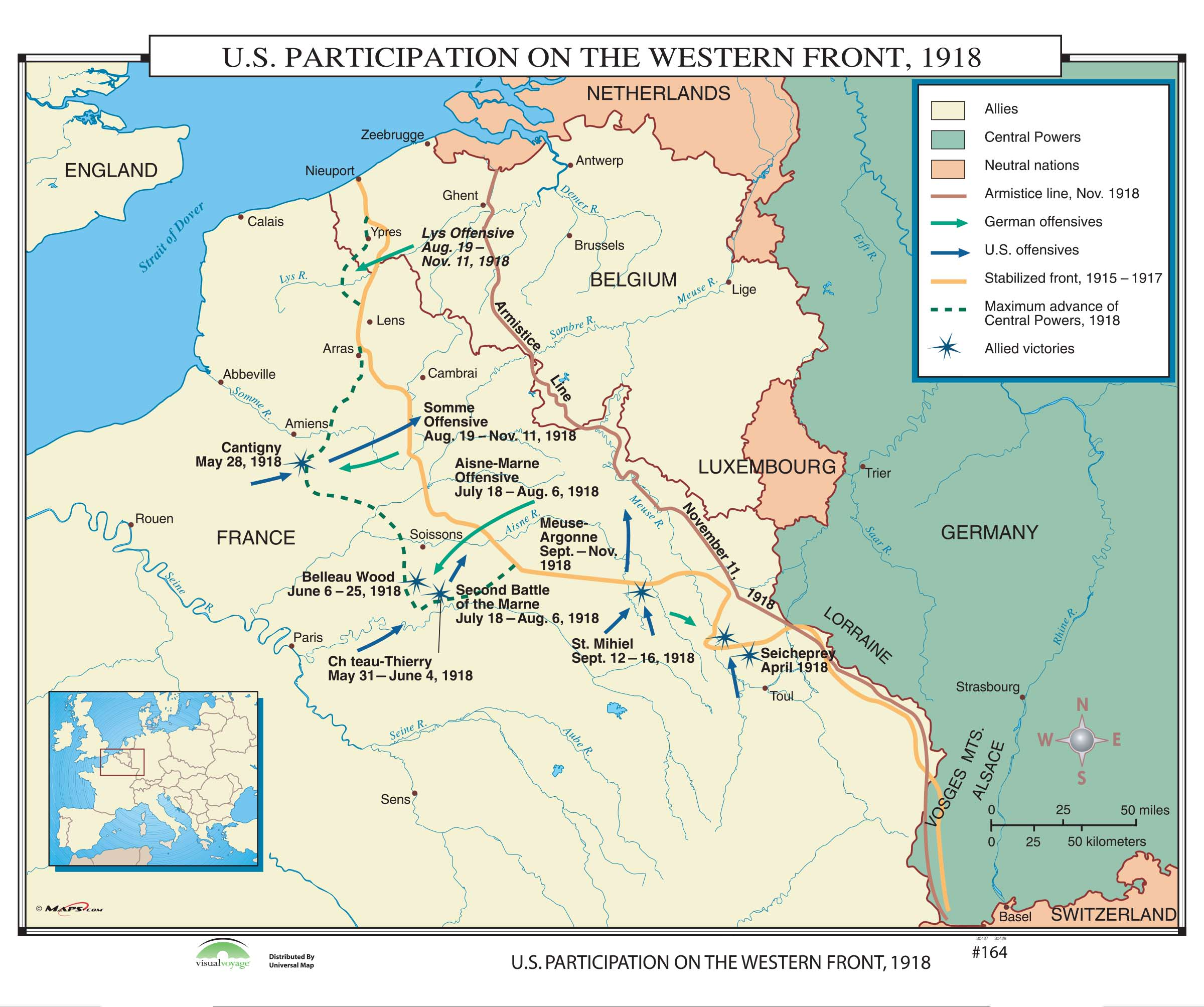 Western Front Map 164 US Participation on the Western Front, 1918 – KAPPA MAP GROUP Western Front Map