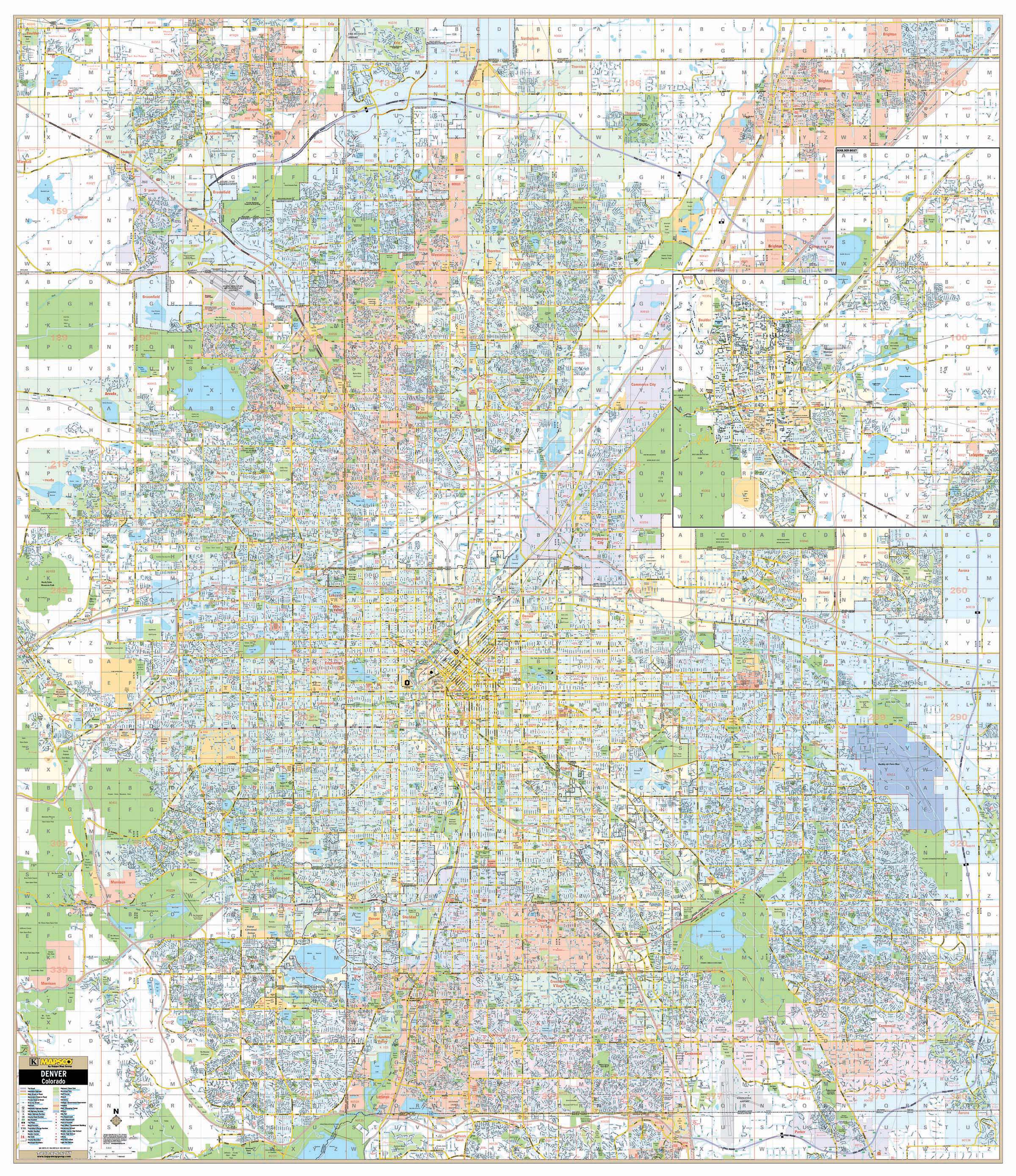 Denver Boulder Co Wall Map W Grid And Zip Codes Kappa Map Group