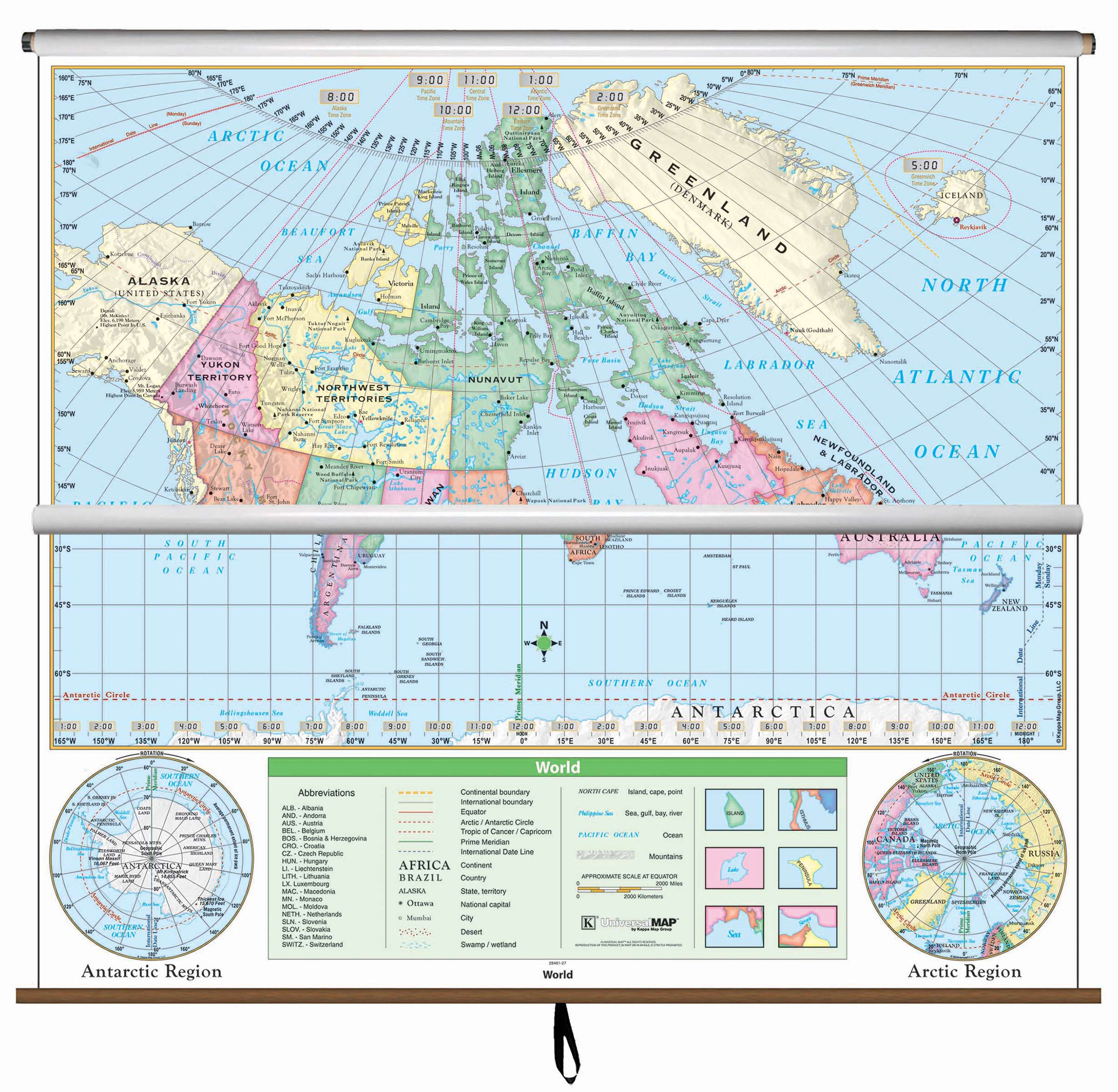 Map Of Canada And Surrounding Countries.Canada World Essential Combo Classroom Wall Map On Roller Kappa