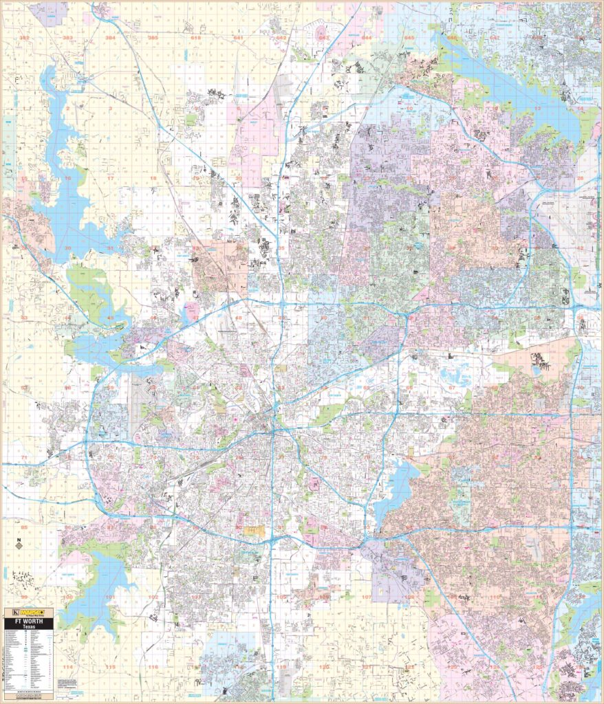 Map Of Northern Texas.Fort Worth Tx Wall Map Kappa Map Group